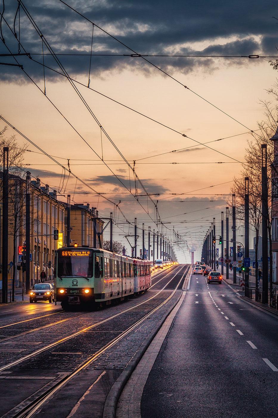 Streetcar at Kennedy Bridge, Bonn, Germany