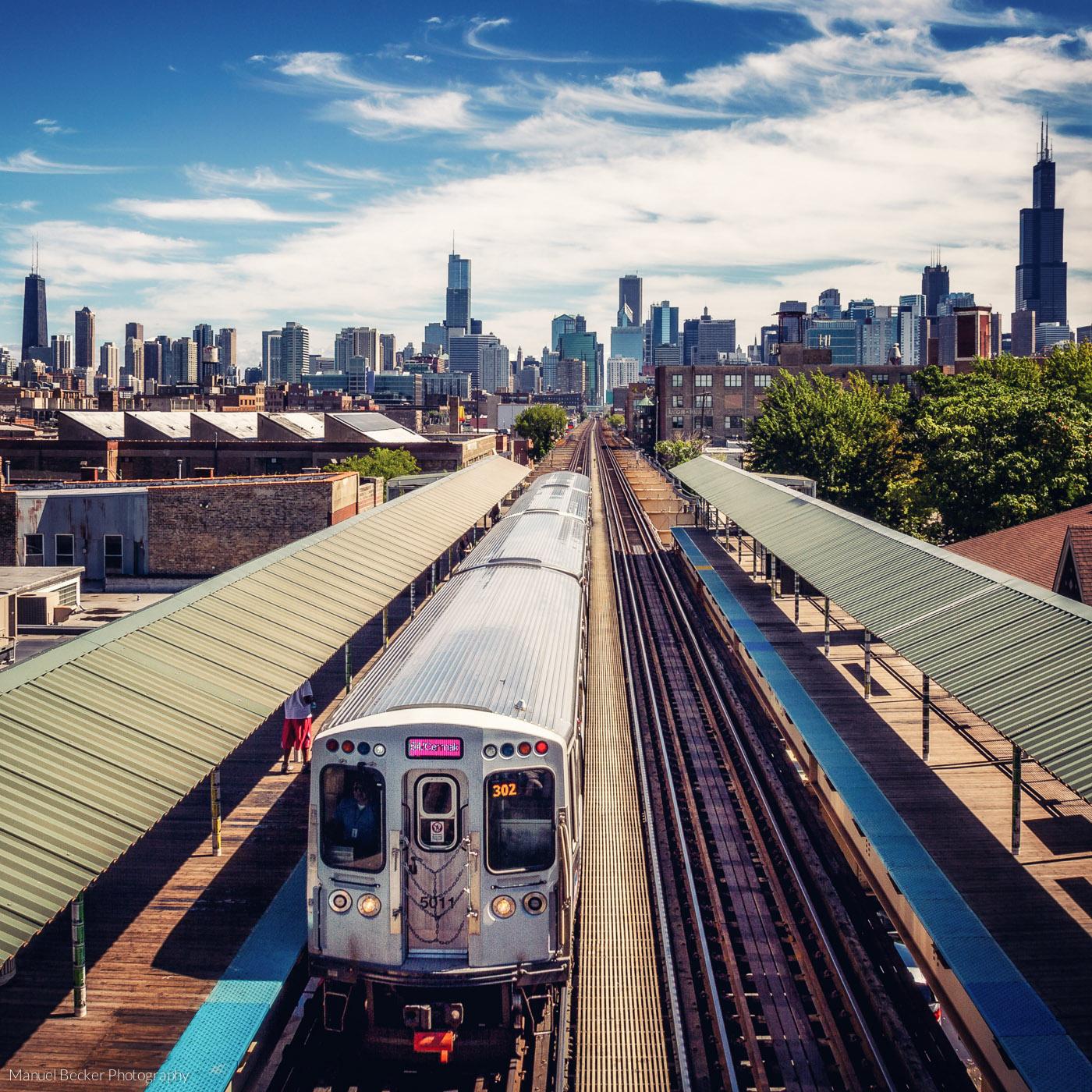 Chicago Skyline from Ashland CTA station, USA