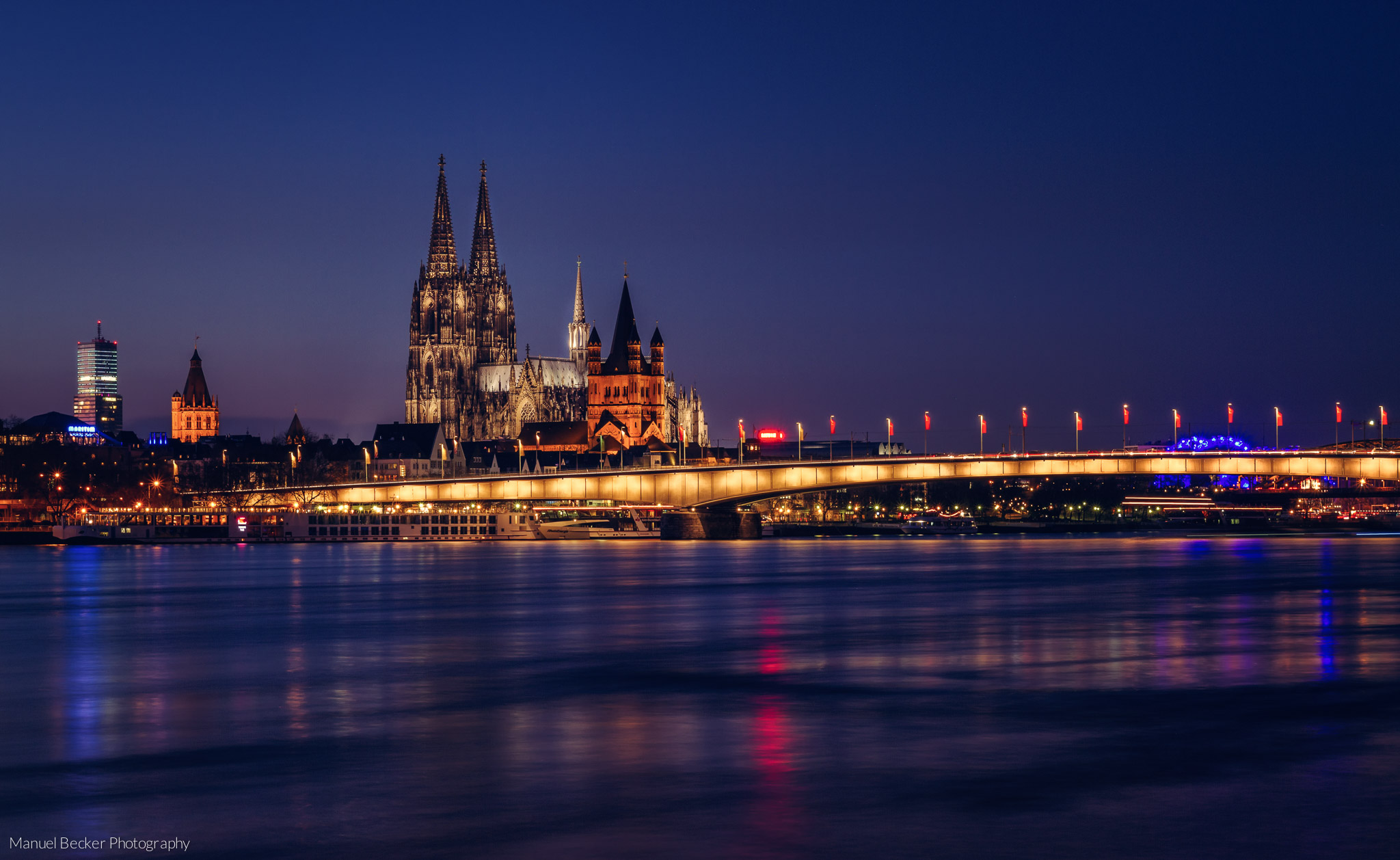 Cologne Cathedral from Severinsbridge, Germany