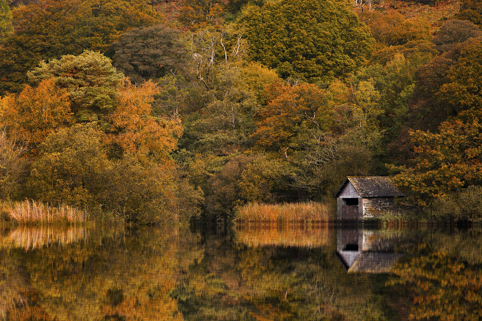 Boathouse on Rydal Water in the English Lake District, United Kingdom