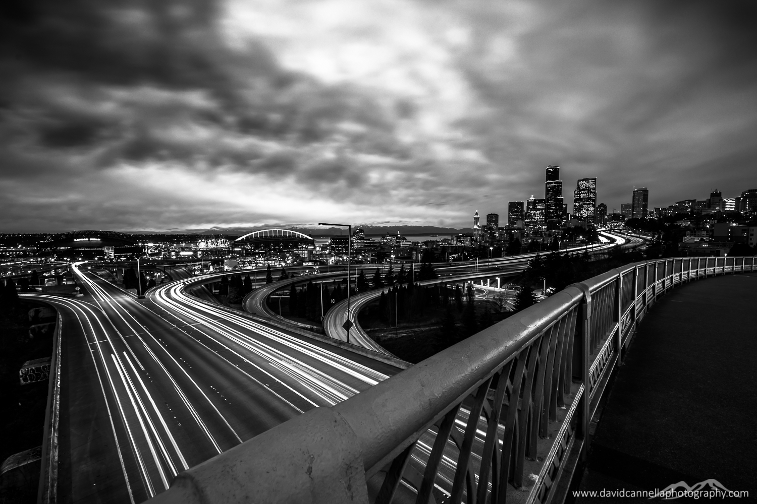 Downtown Seattle from 12th Ave overpass at I90, USA