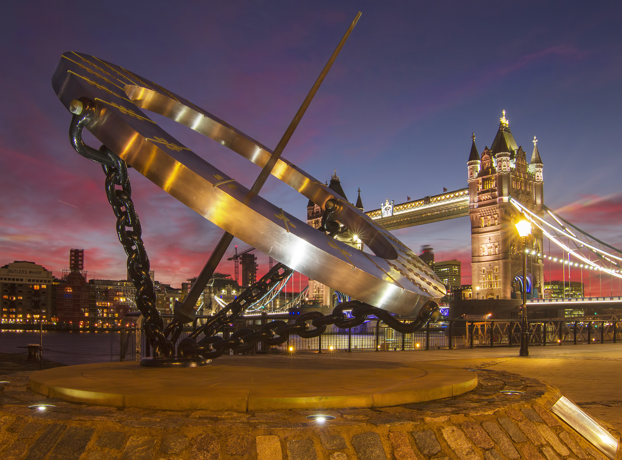Tower Bridge and the Sun Dial at Sunset, United Kingdom