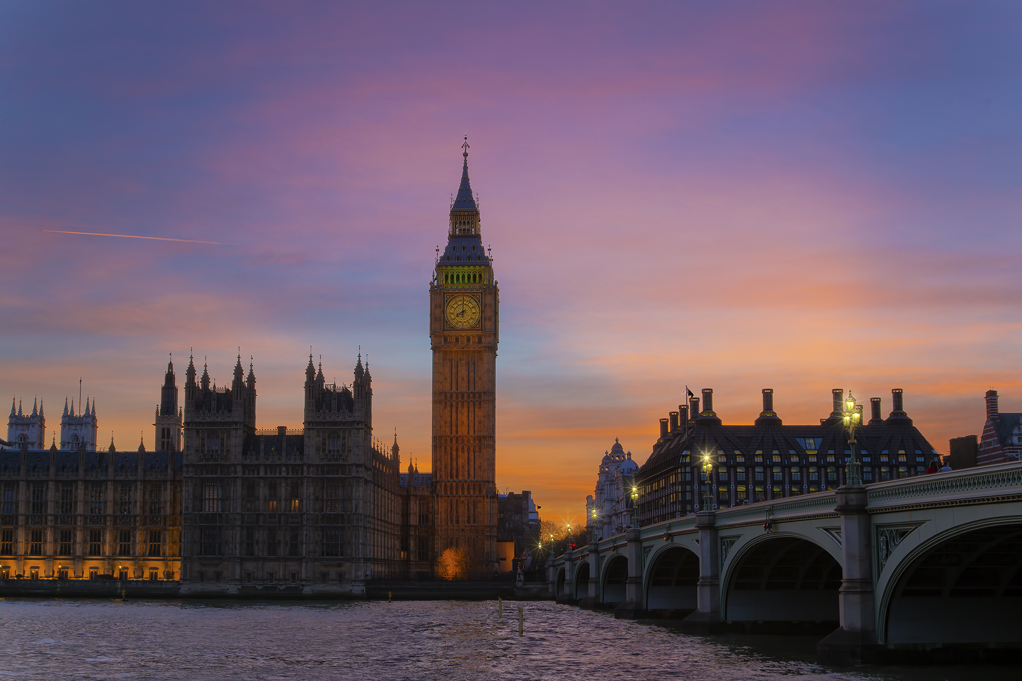 Sunset at Eight over The Houses of Paliament, United Kingdom