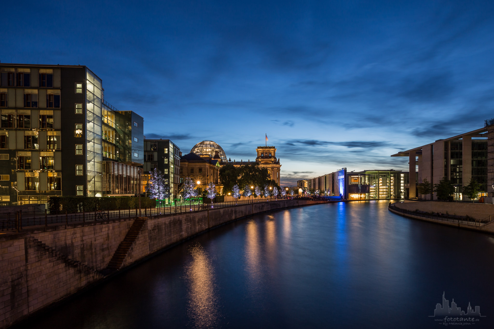 Blue hour at the Reichstagufer, Berlin, Germany
