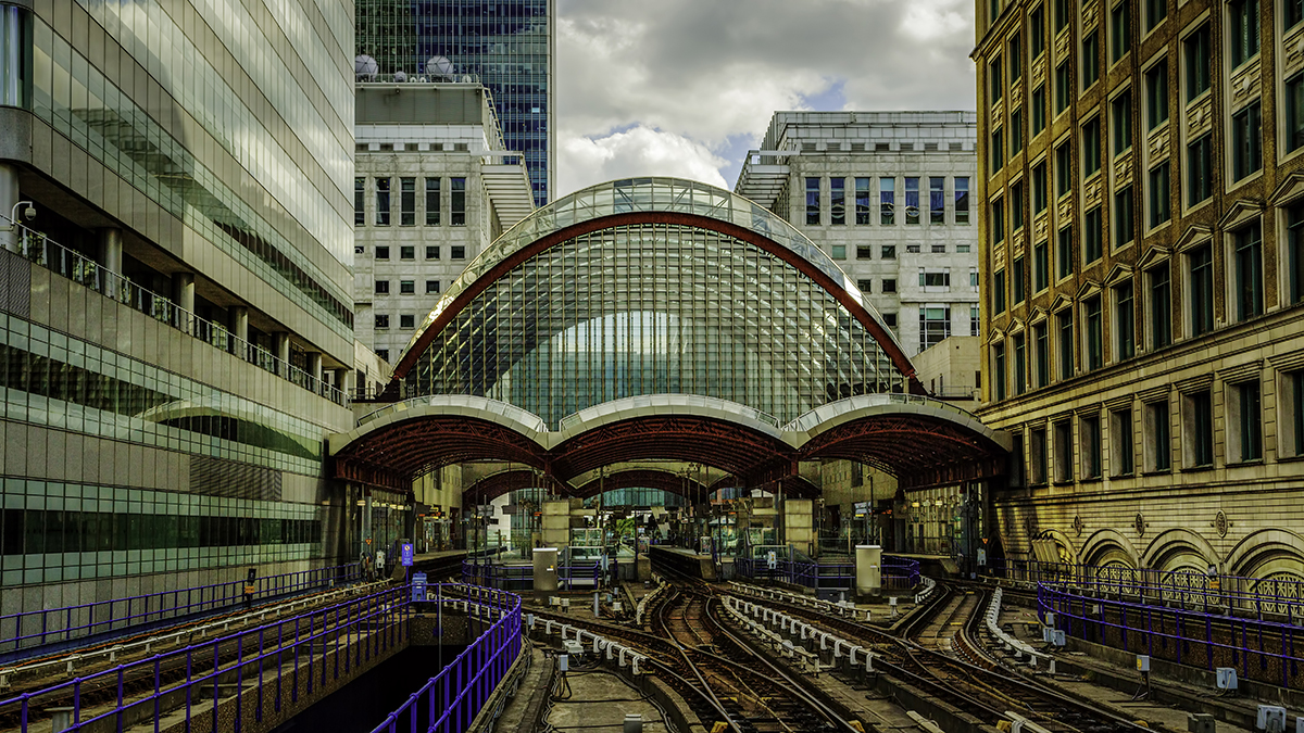 Entering Canary Wharf Dockland Light Railway Station, United Kingdom
