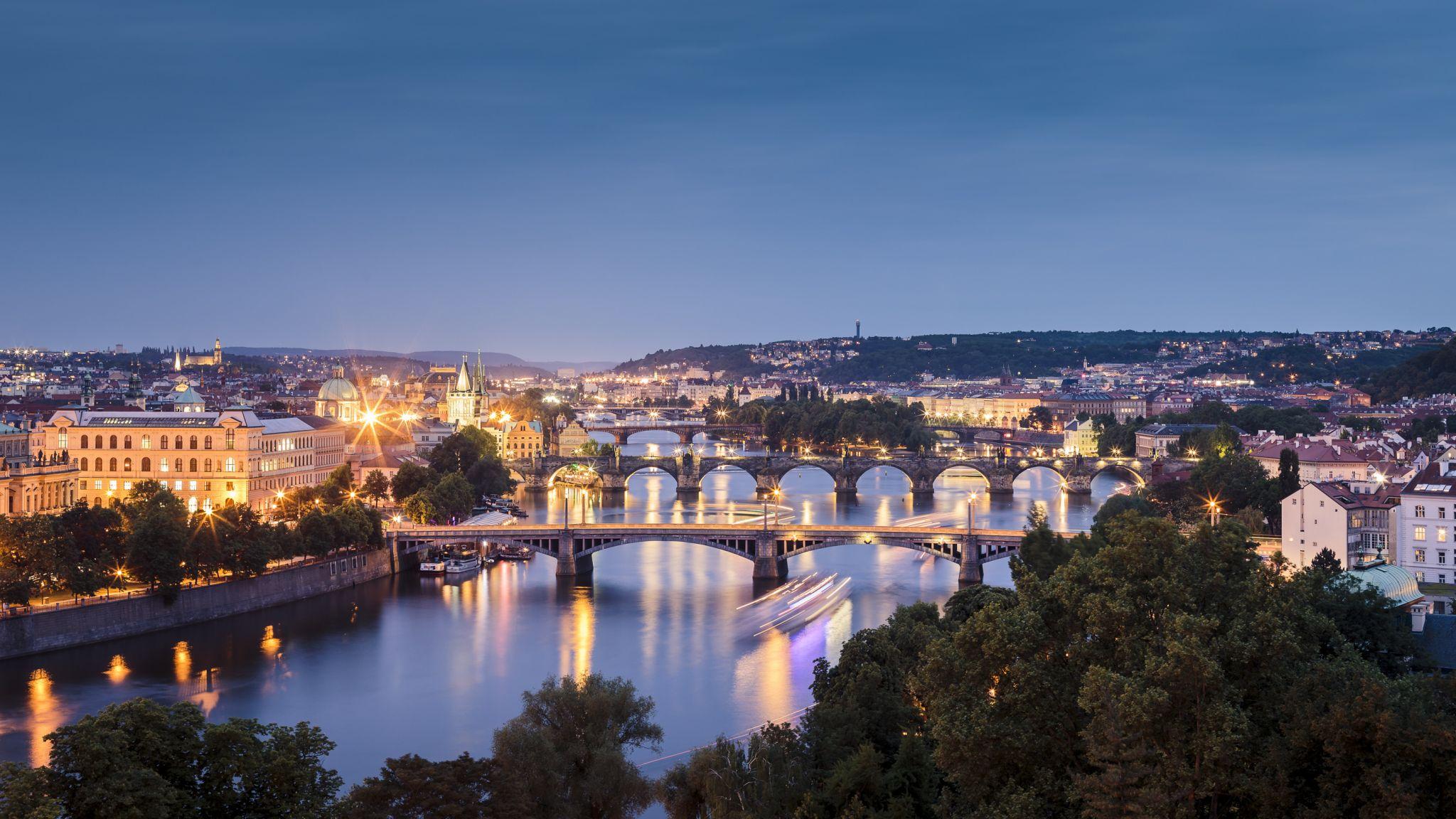 Vibrant city colors, Prague, Czech Republic