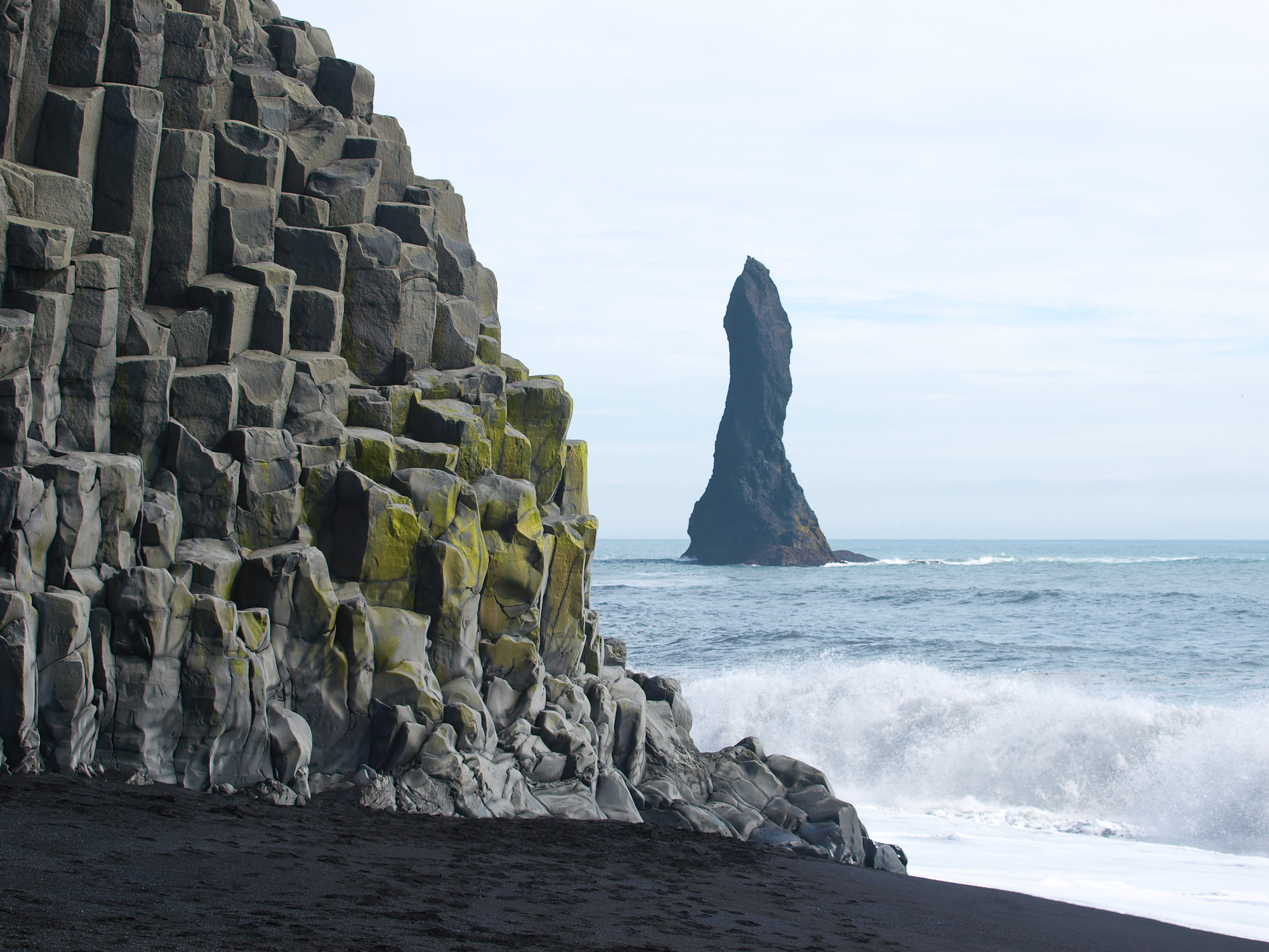 Reynisdrangar, the black basalt sea stacks near Vik, Iceland
