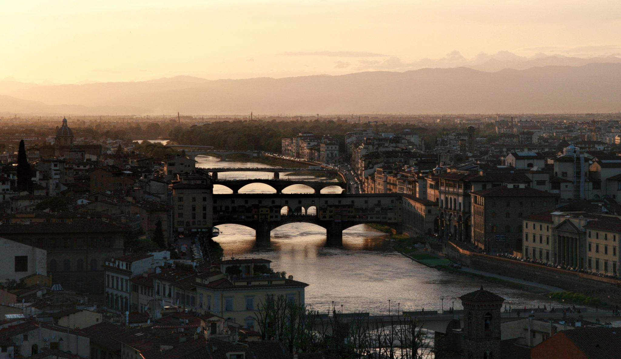 Arno and Bridges in Florence, Italy