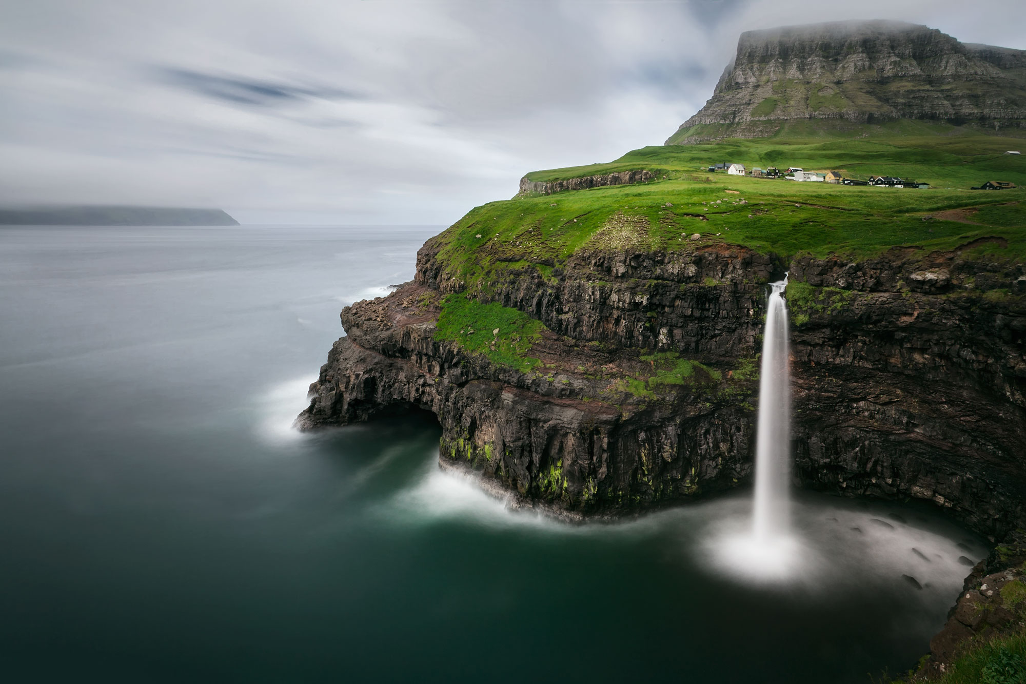 Mulafossur Waterfall, Faroe Islands, Faroe Islands