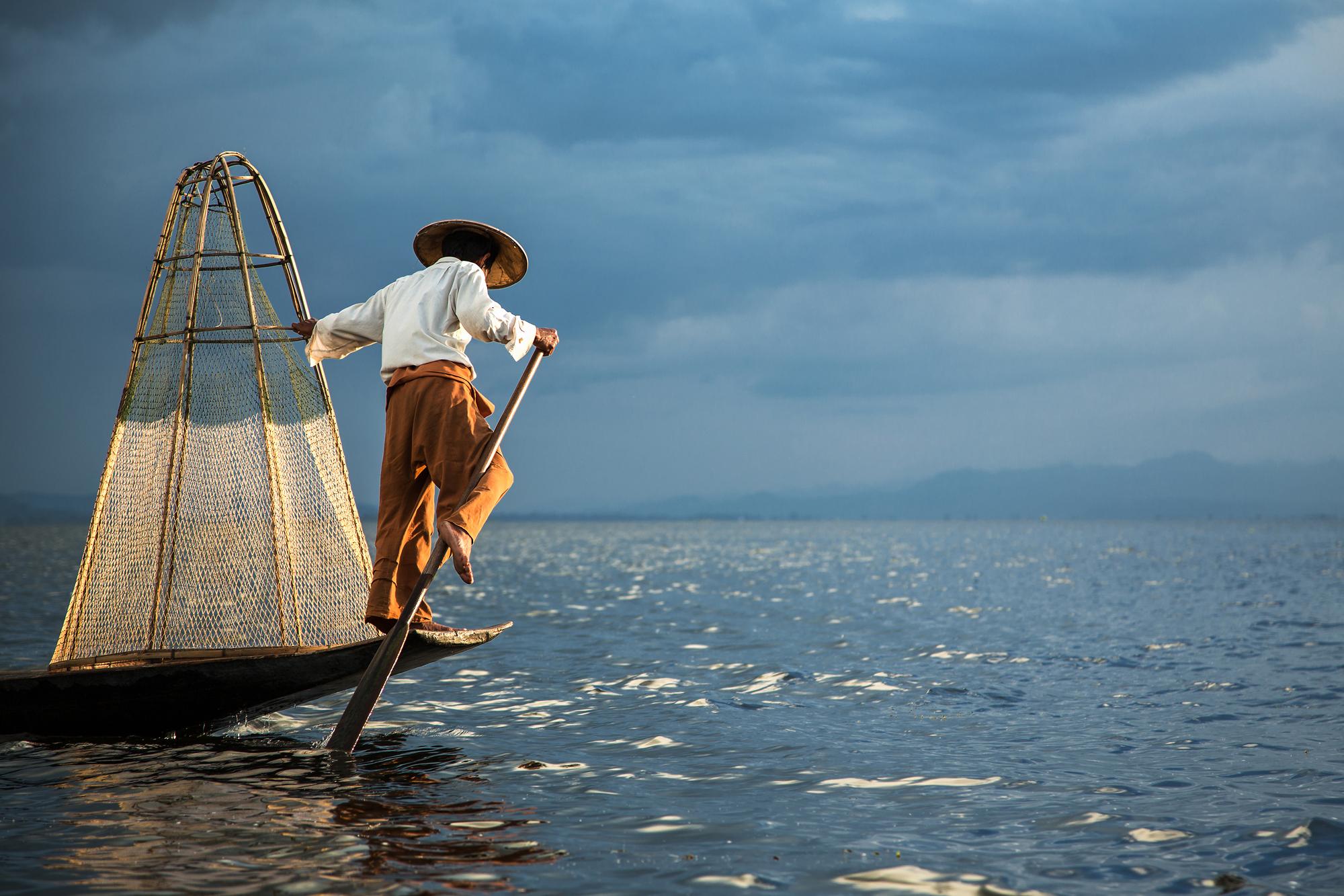 Last light on Inle Lake, Myanmar
