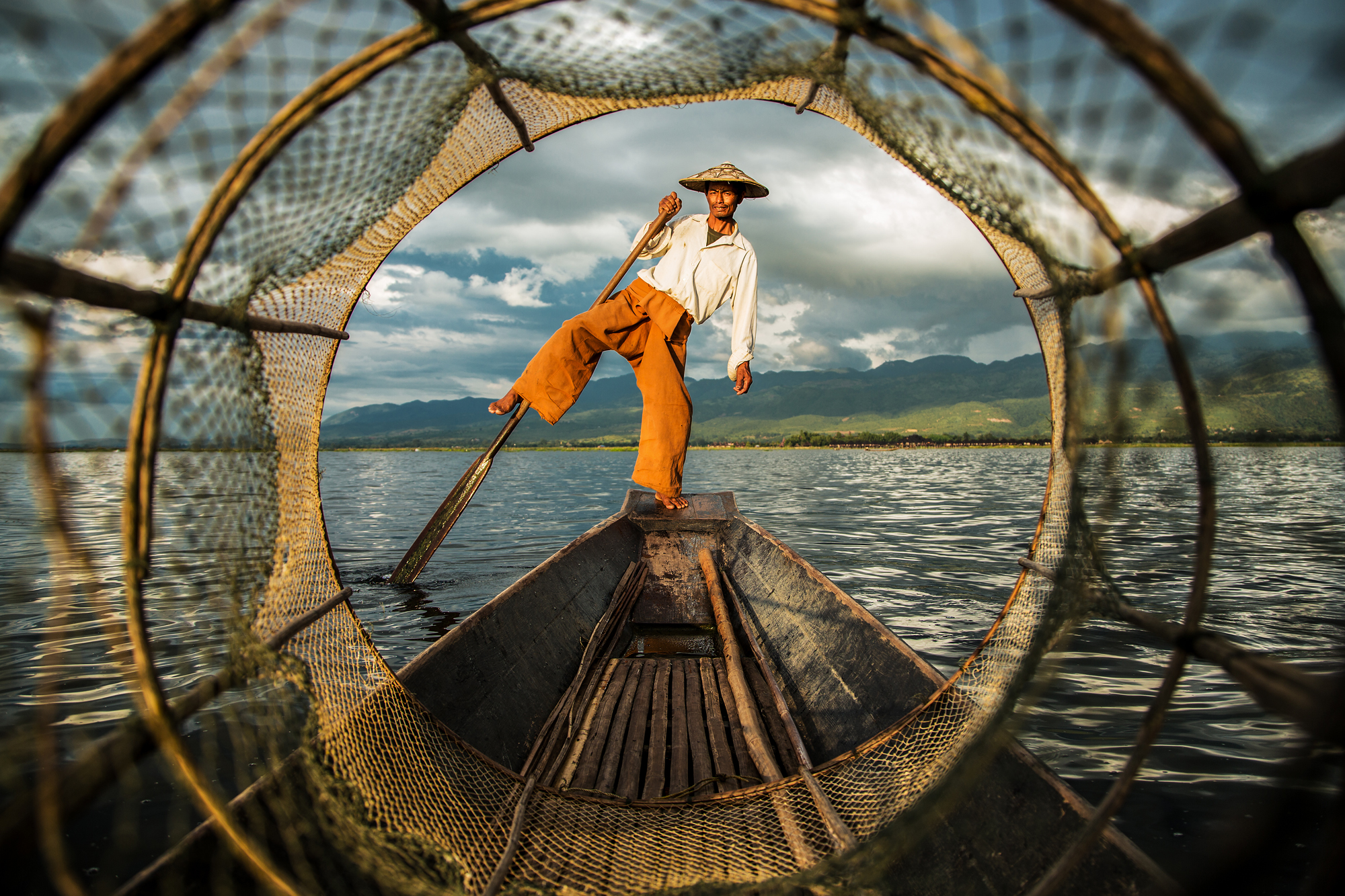 One leg rower on Inle-Lake, Myanmar