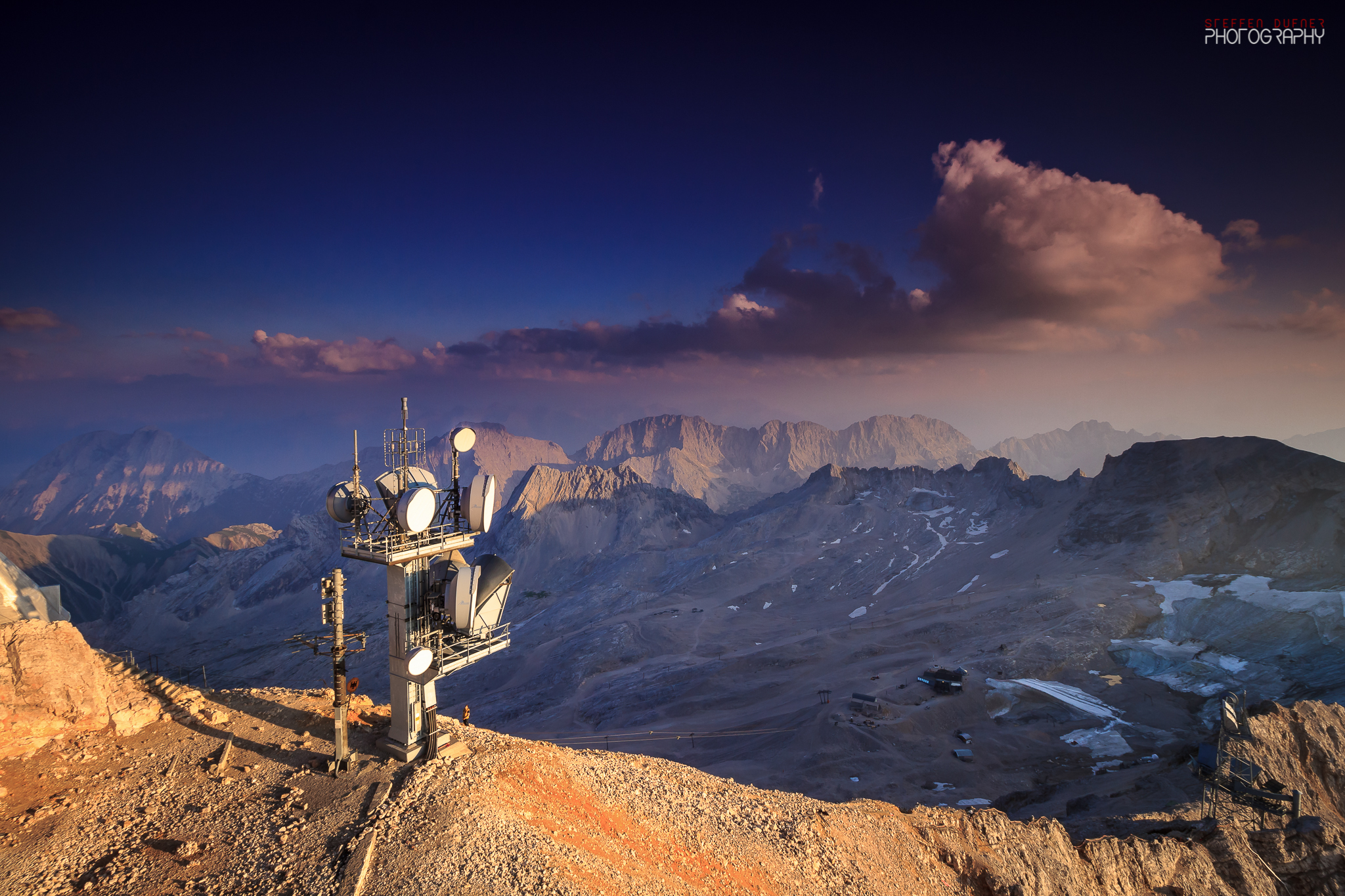 Sunset on the top of the Zugspitze, Austria