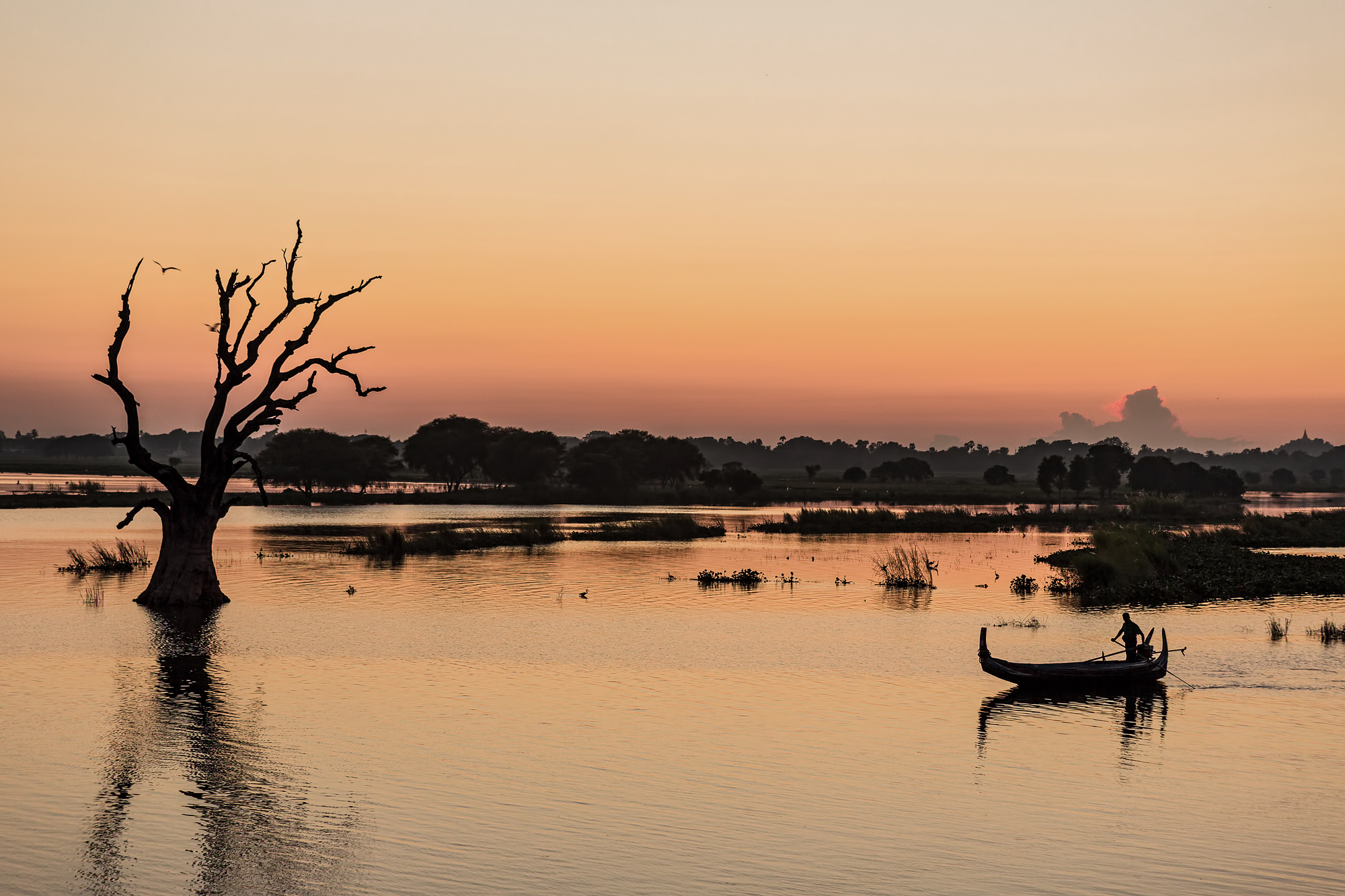 At sunset at the lake in Myanmar, Myanmar