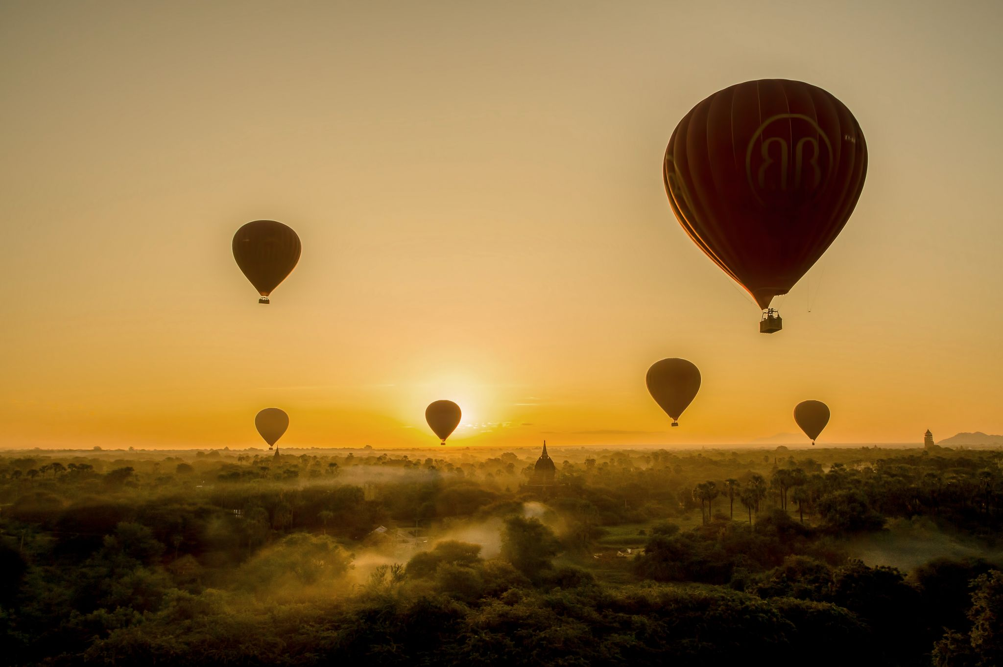 In a balloon over Bagan, Myanmar