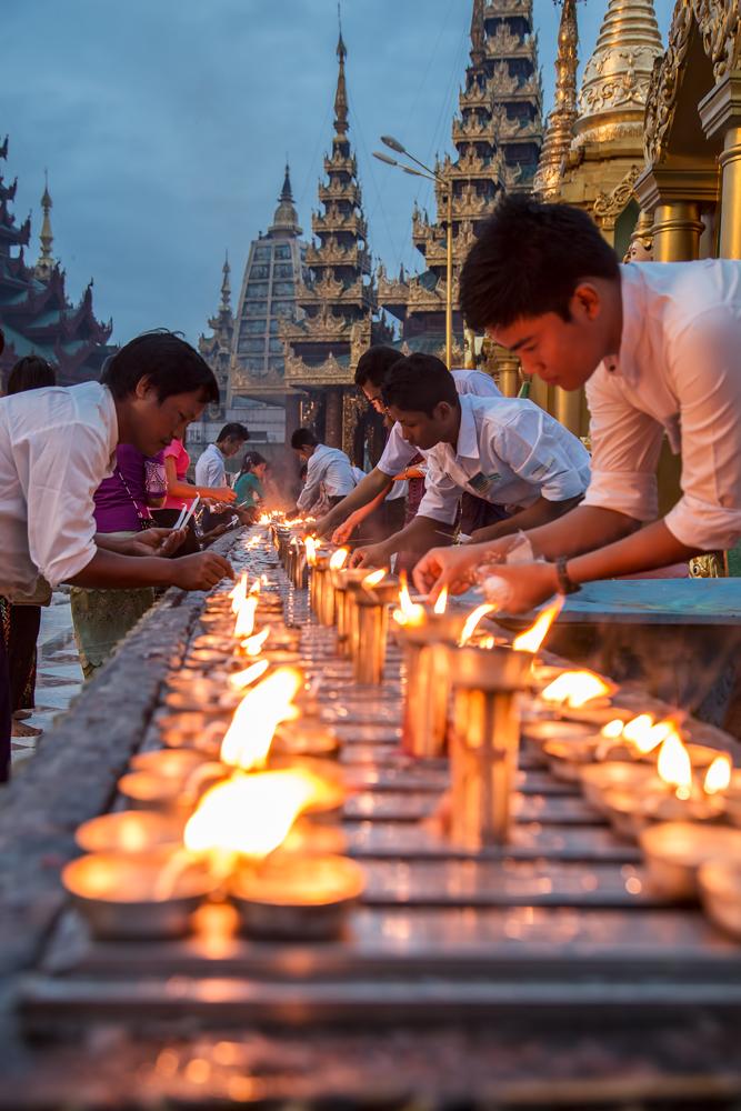 Shwedagon Pagoda in the evening, Myanmar