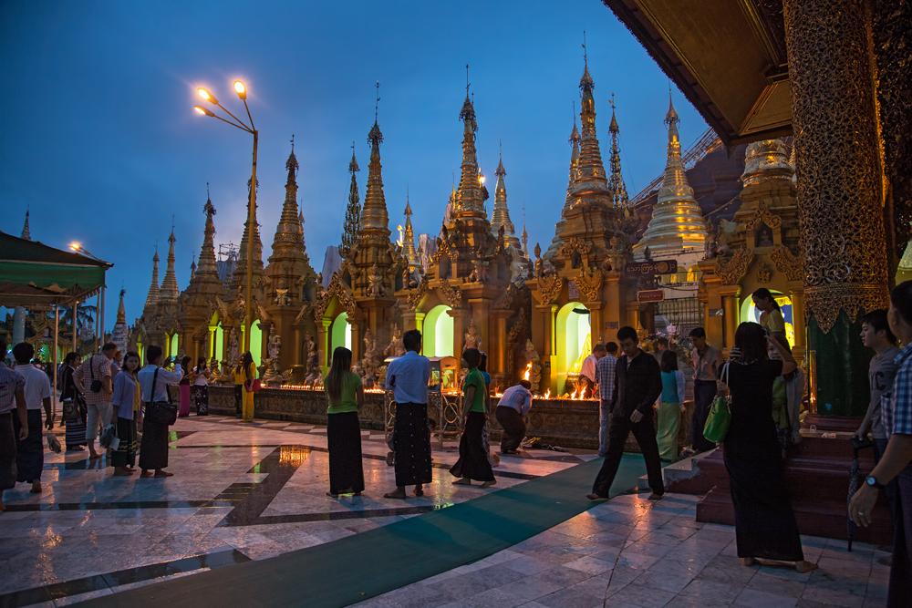 Shwedagonpagoda at the blue hour, Myanmar