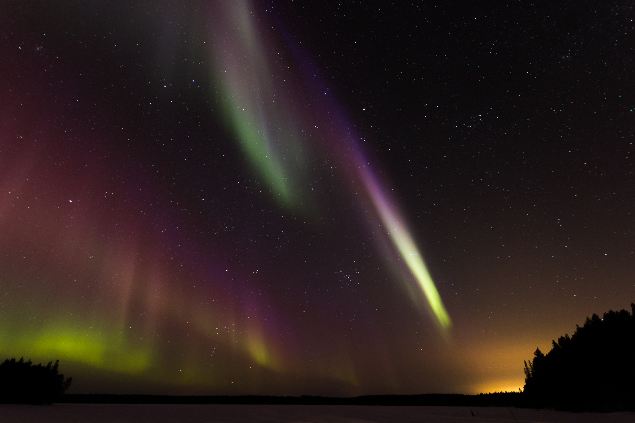 Northern Lights seen from Ollilian Lomamajat, Finland