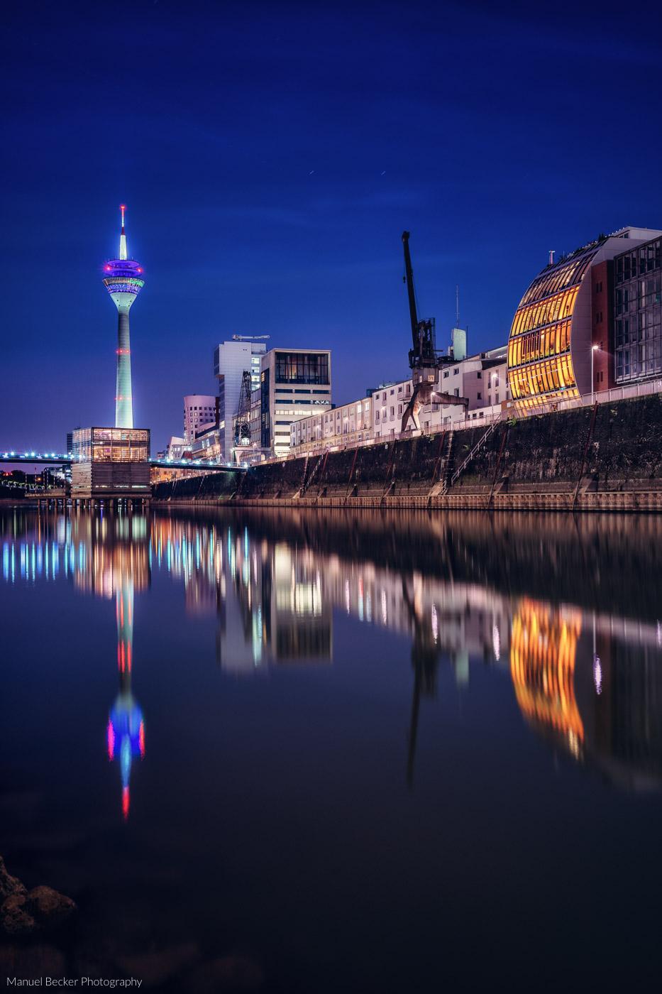 View to Rheinturm from Media Harbor, Düsseldorf, Germany