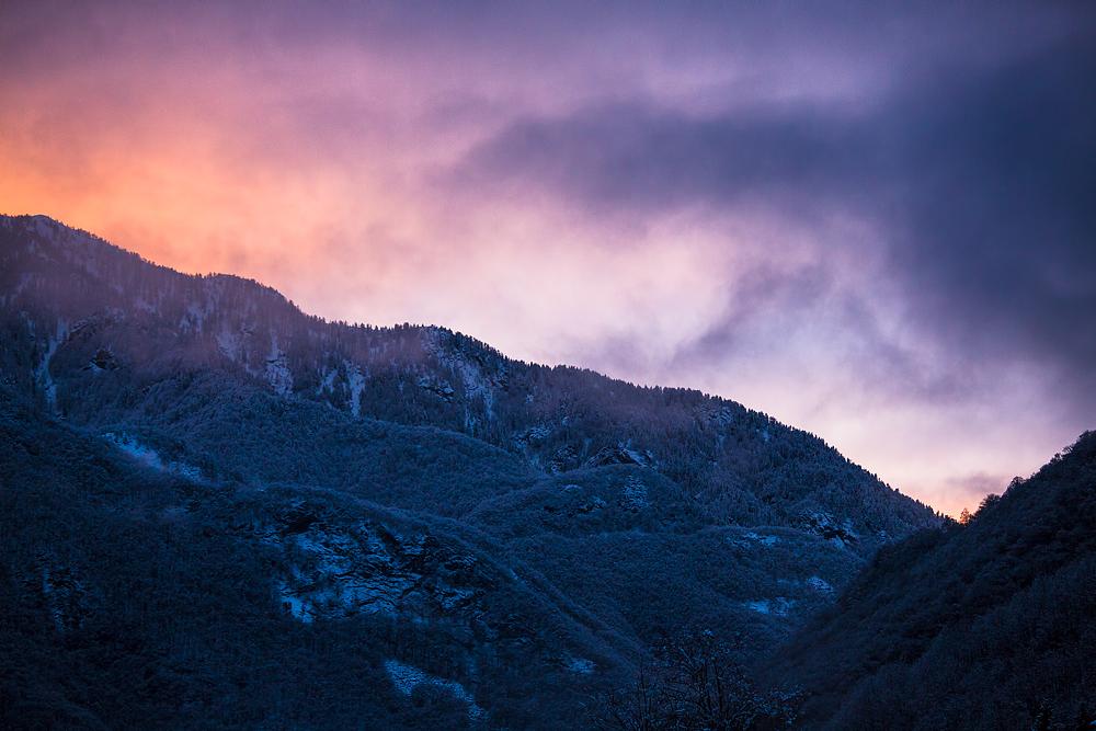 Sonnenuntergang im Valle Onsernone, Switzerland
