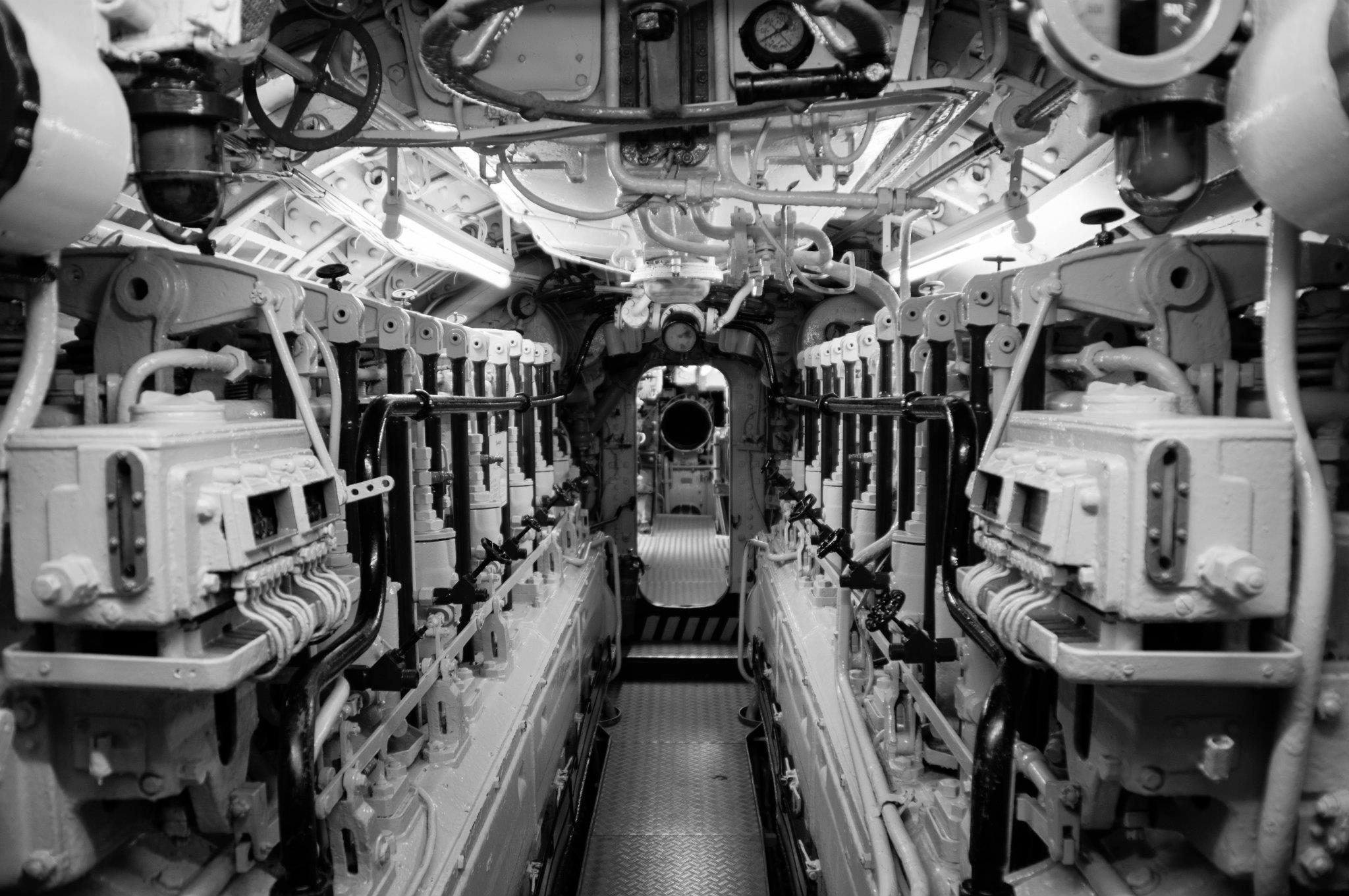 Inside submarine U-995 Type VIIC at the Laboe Naval Memorial, Germany