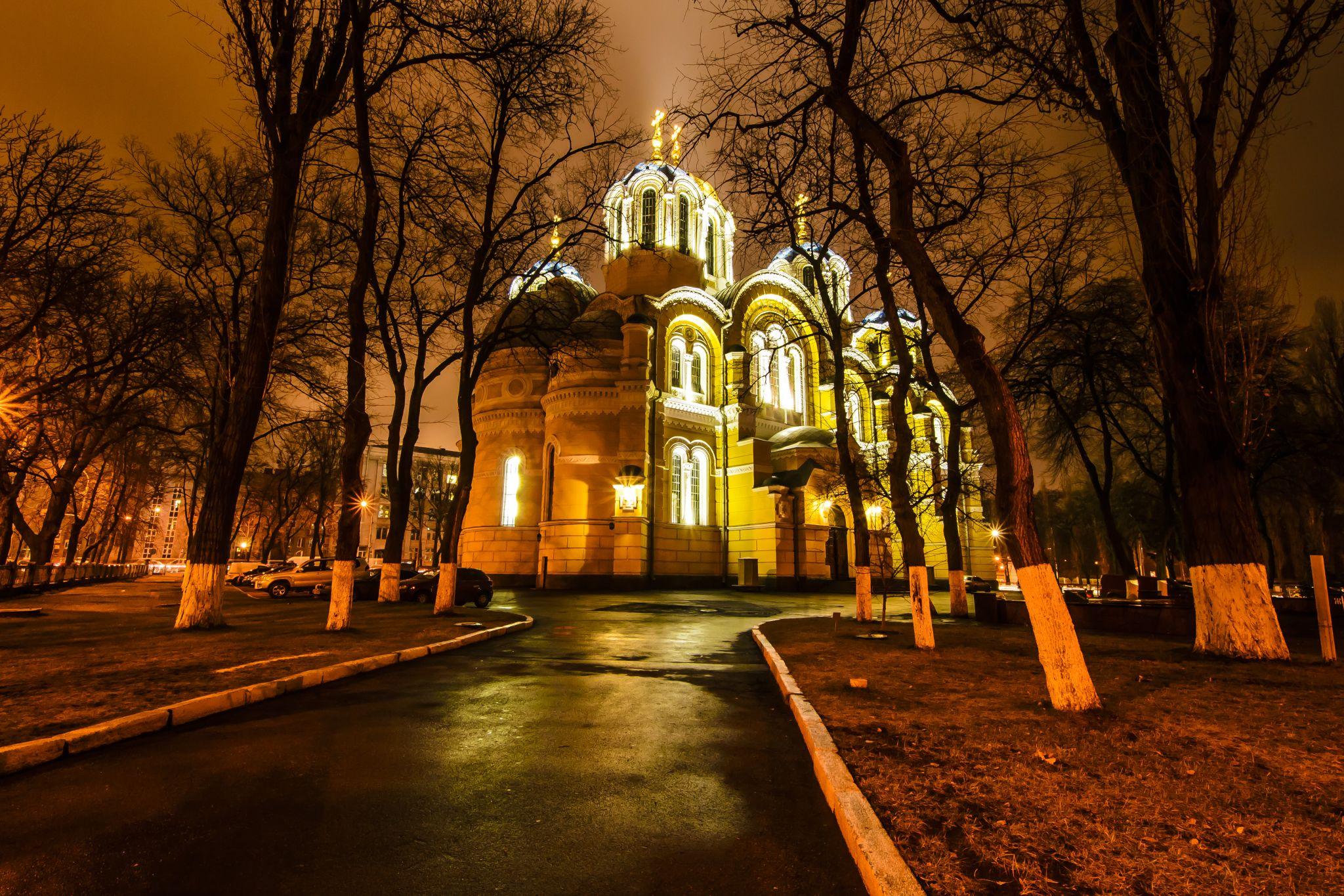 St Volodymyr's Cathedral at night, Ukraine