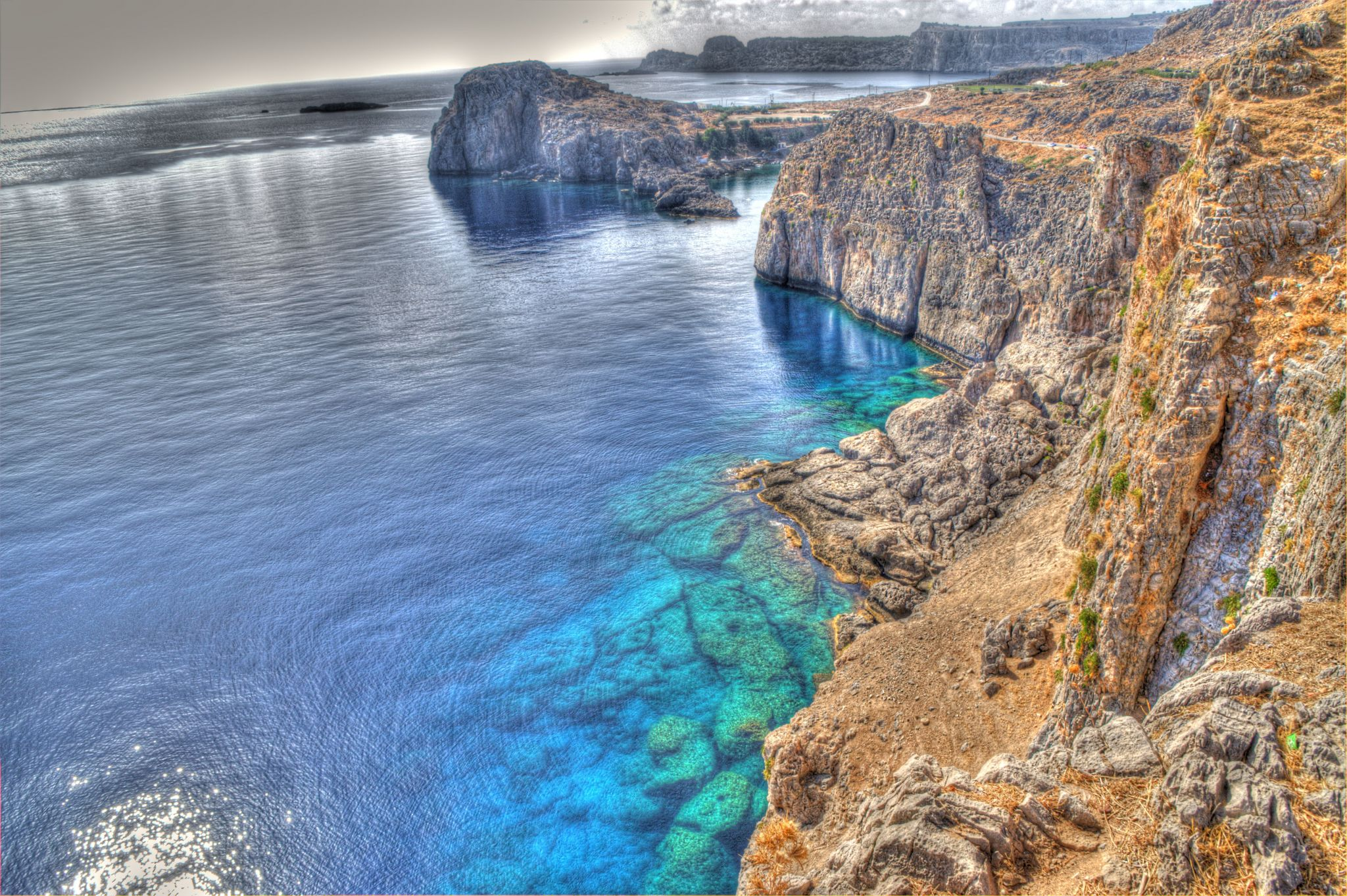 View from the cliffs of Lindos, Rhodes Island, Greece