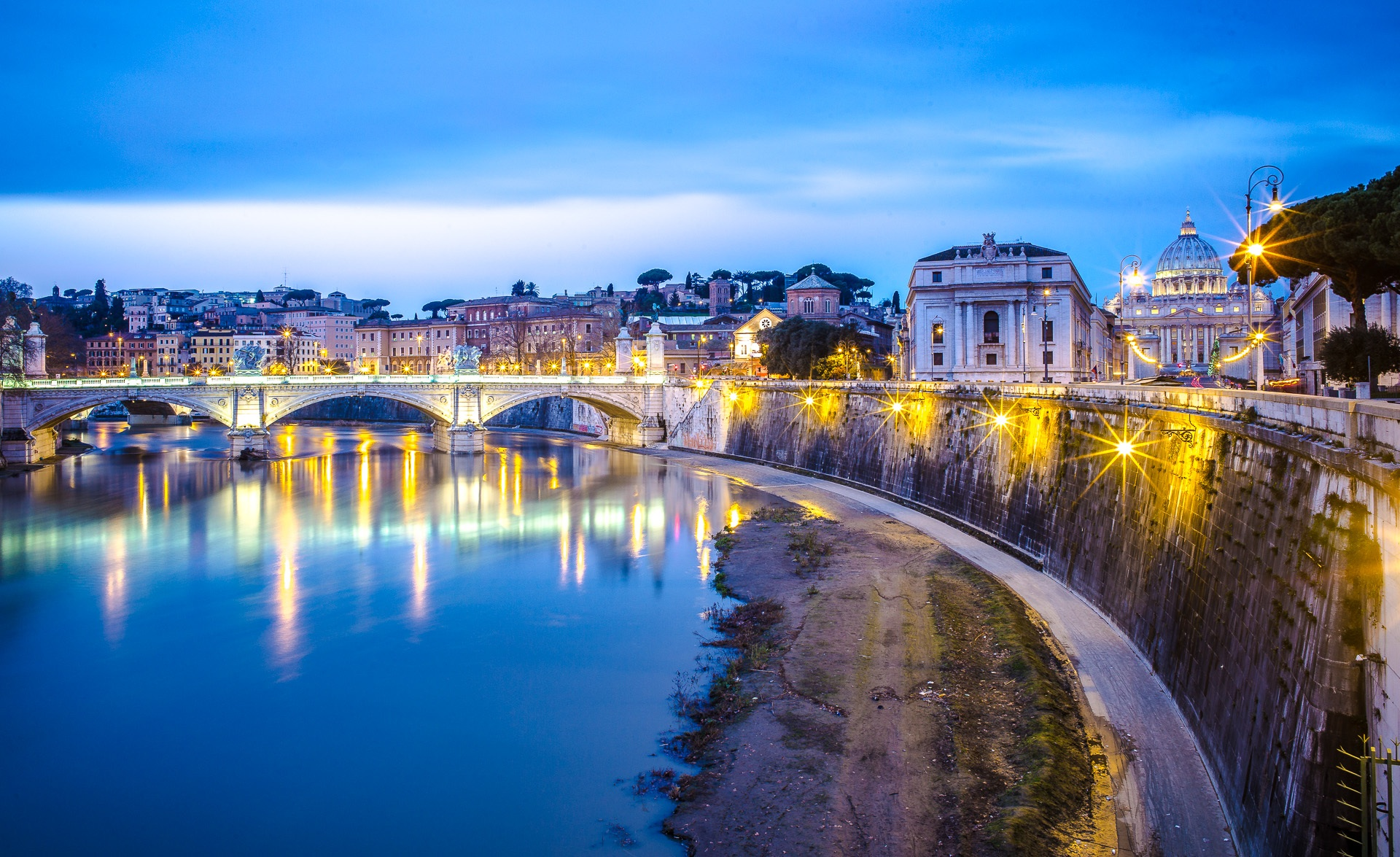 Ponte Sant' Angelo, St Peter's view, Vatican City, Holy See, Italy
