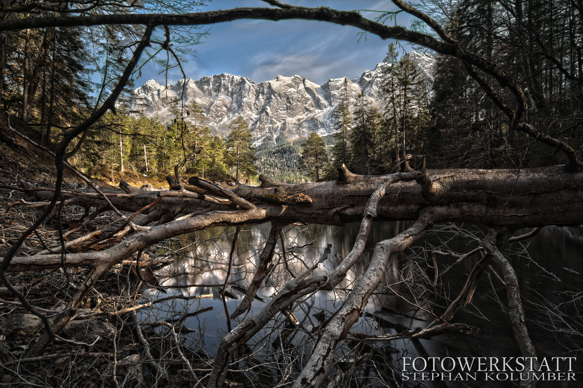 HDR View over Eibsee to Zugspitze, Germany