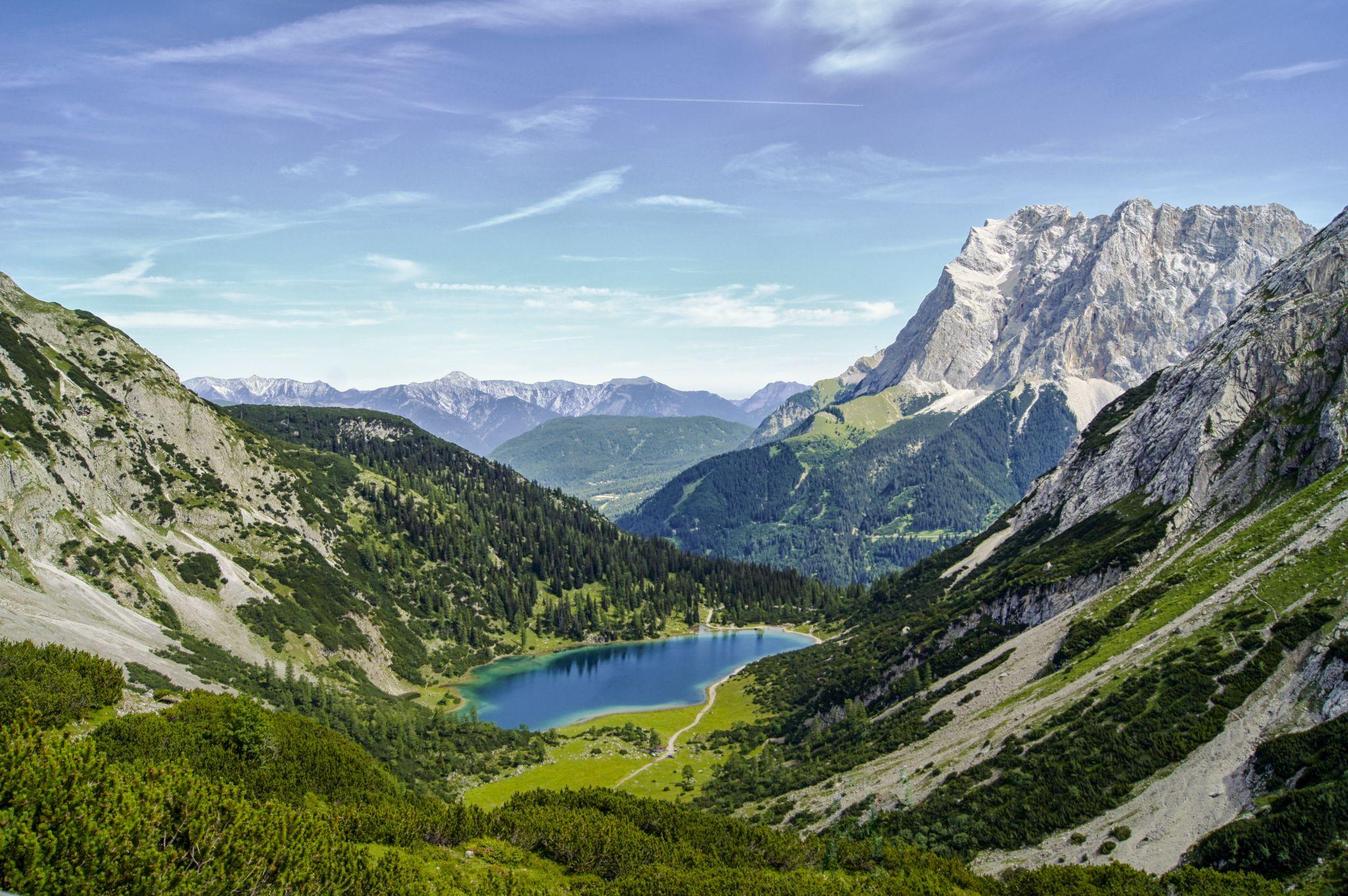 Coburger Hütte and Drachensee, View to Seebensee, Austria