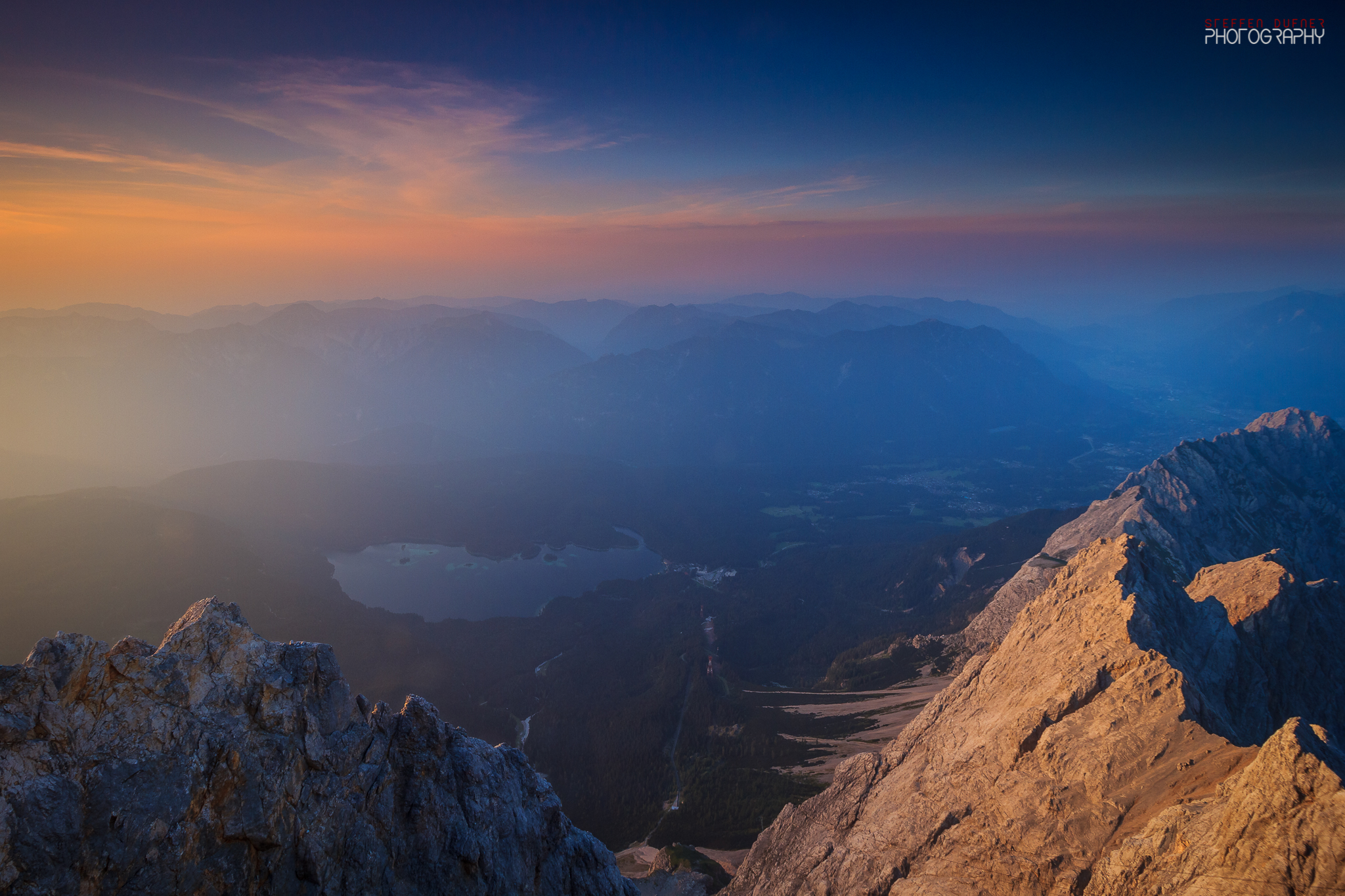 Zugspitze Sunset - View of the Eibsee, Austria