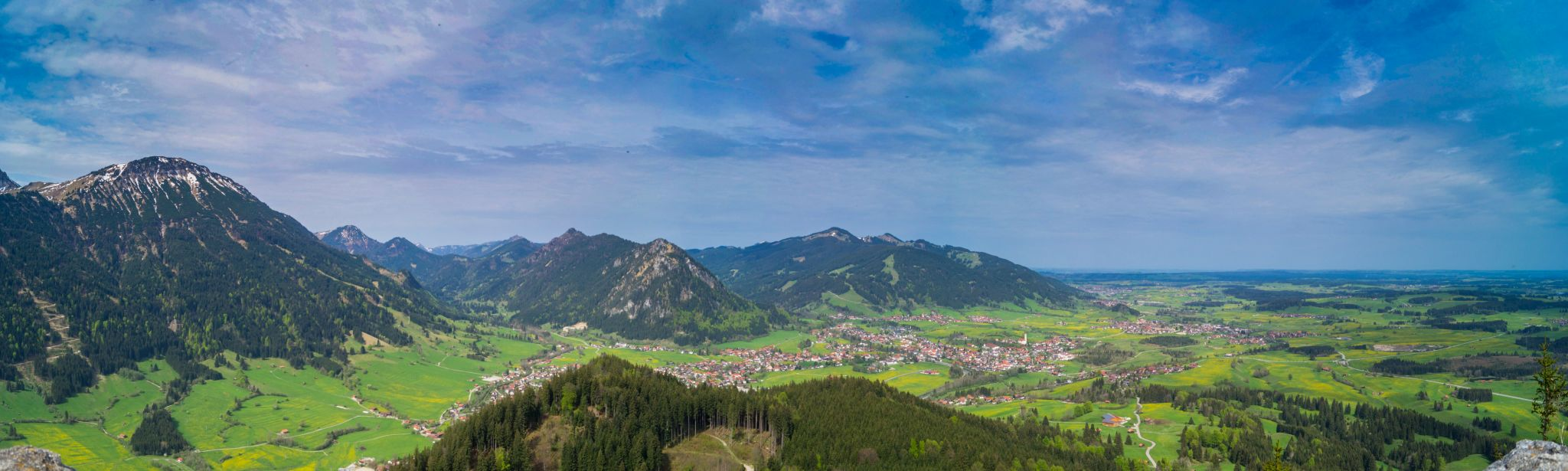 View over Pfronten from castle ruin 'Falkenstein', Germany