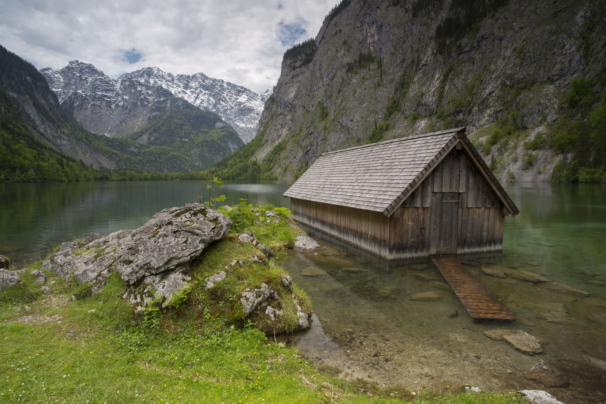 Wooden fisher hut in Obersee, Bavarian Alps, Germany, Germany
