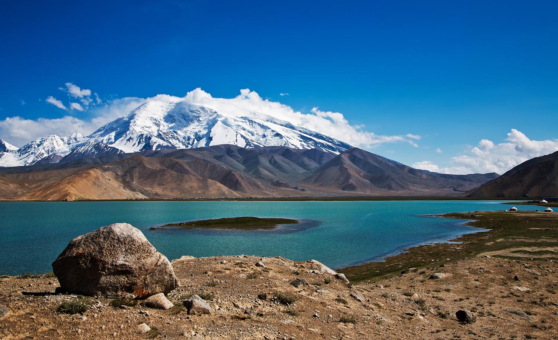 View towards Muztag Ata from Karakul Lake, Tajikistan