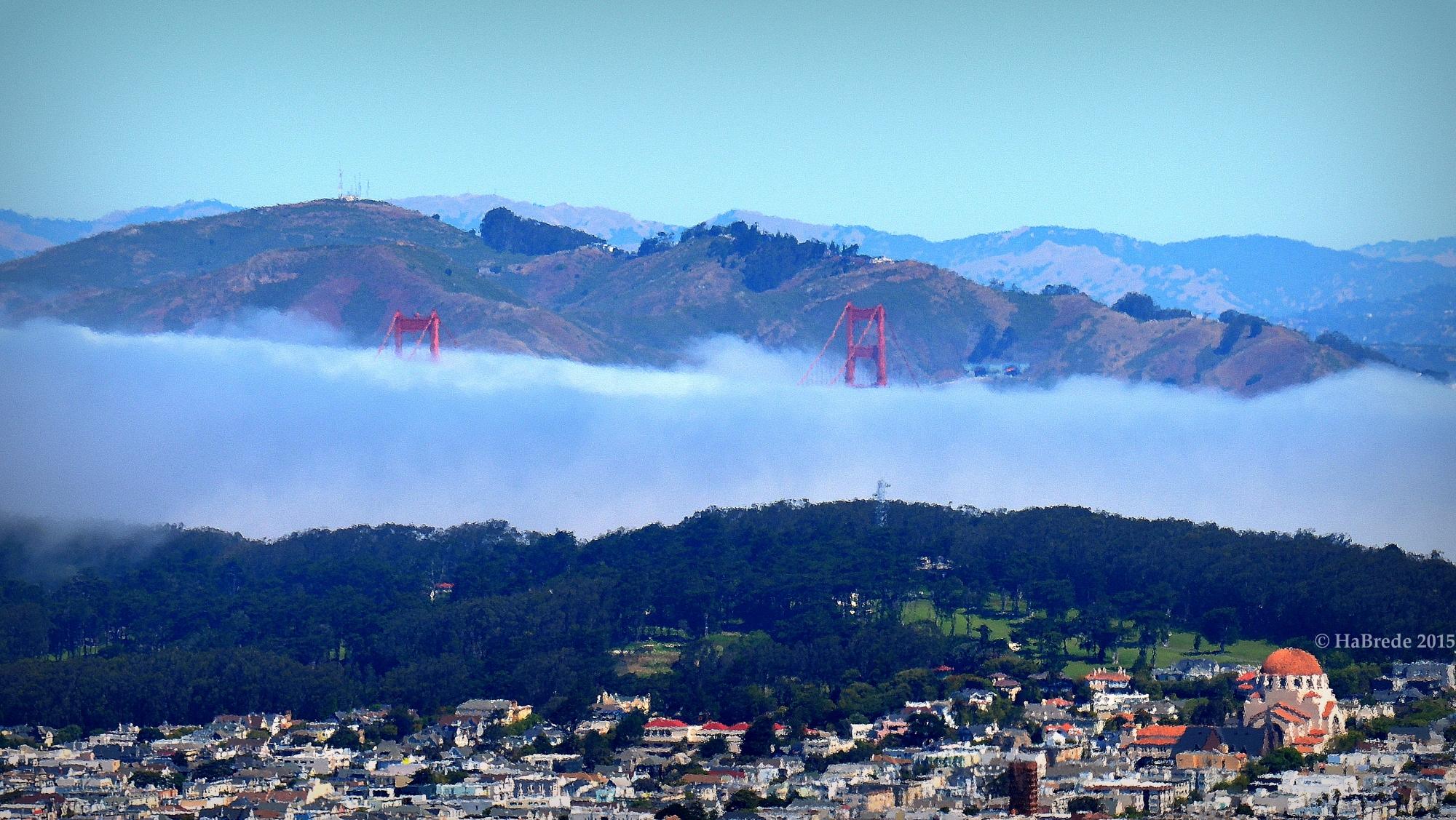 The peeks of the Golden Gate Bridge, USA