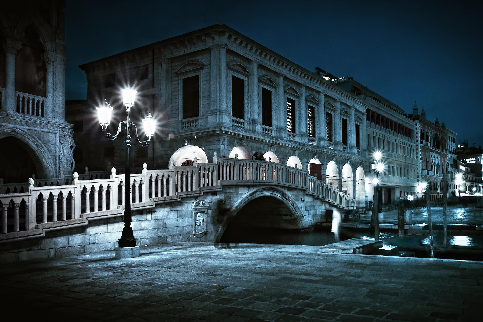 Venice, Riva degli Schiavoni at night, Italy