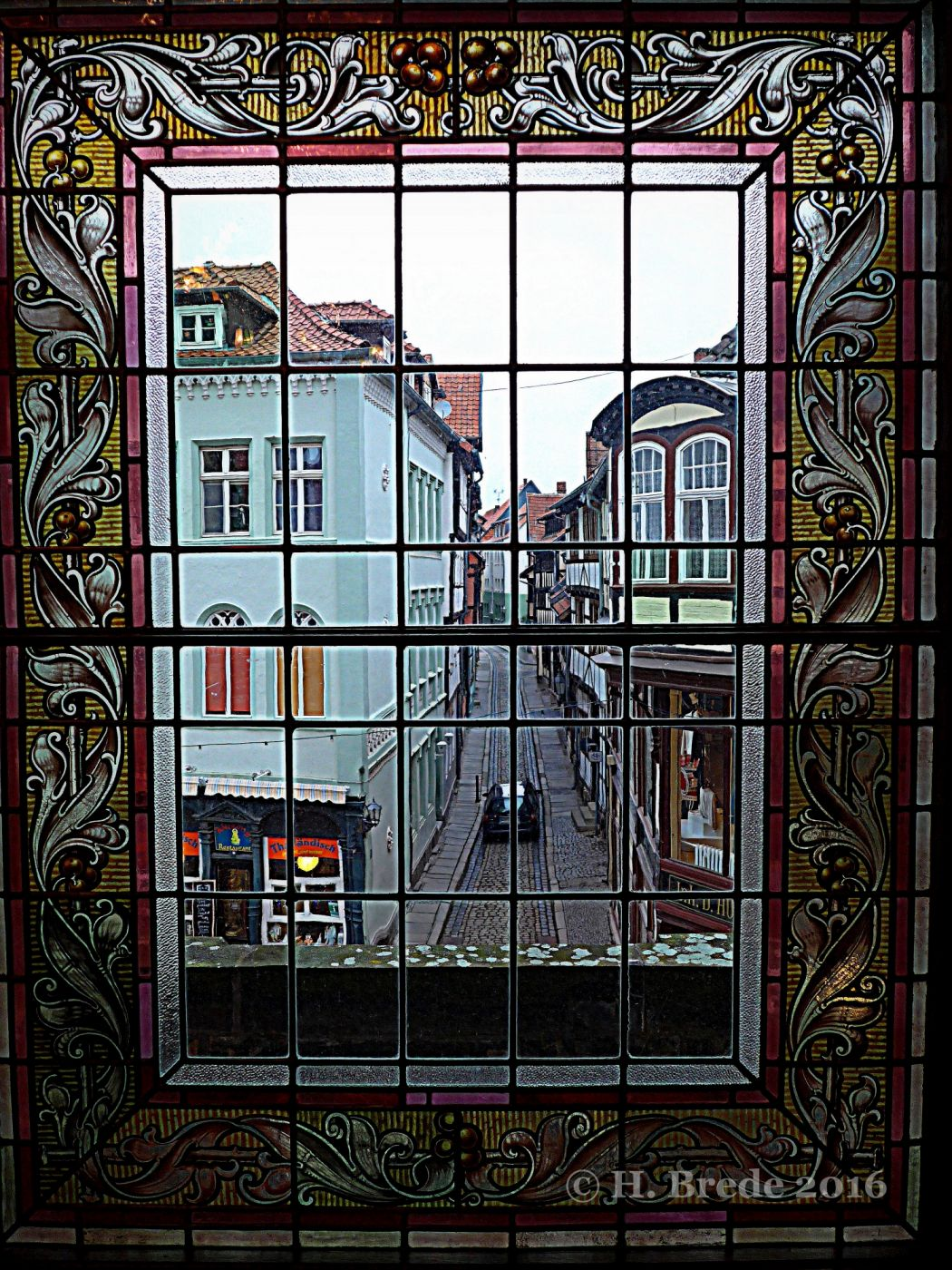 View out of the town hall of Quedlingburg, Germany
