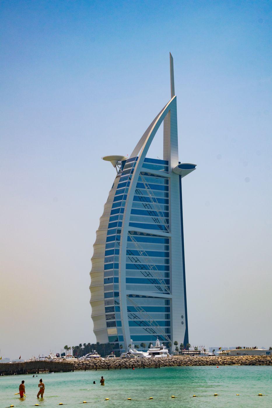 Burj al arab & Atlantis the palm in the dust, United Arab Emirates