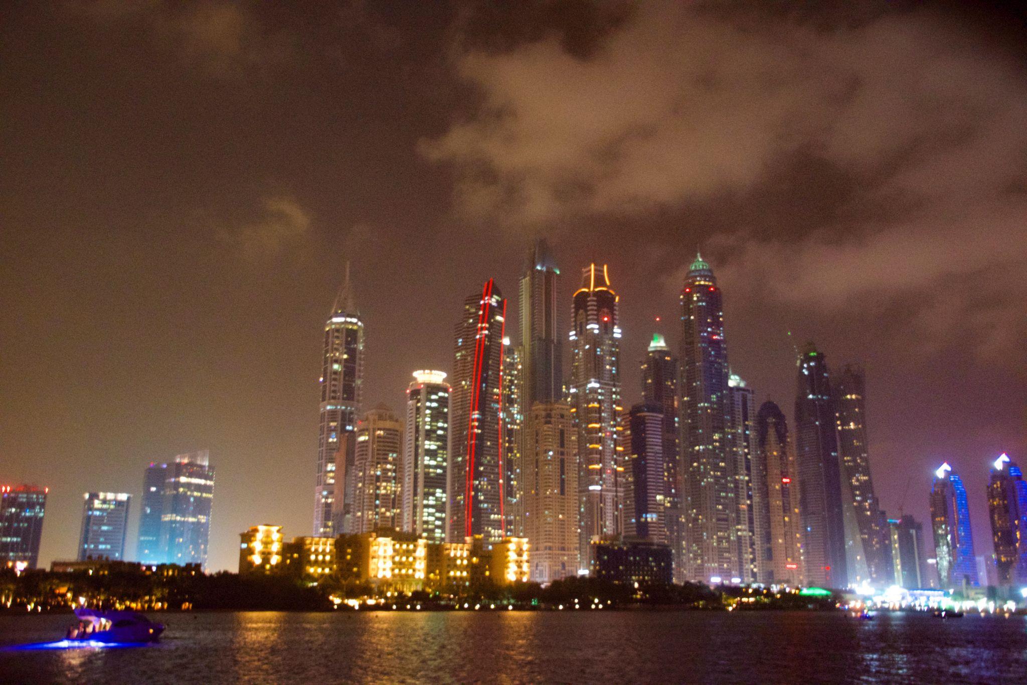 Dubai Marina - Boat-trip at night, United Arab Emirates