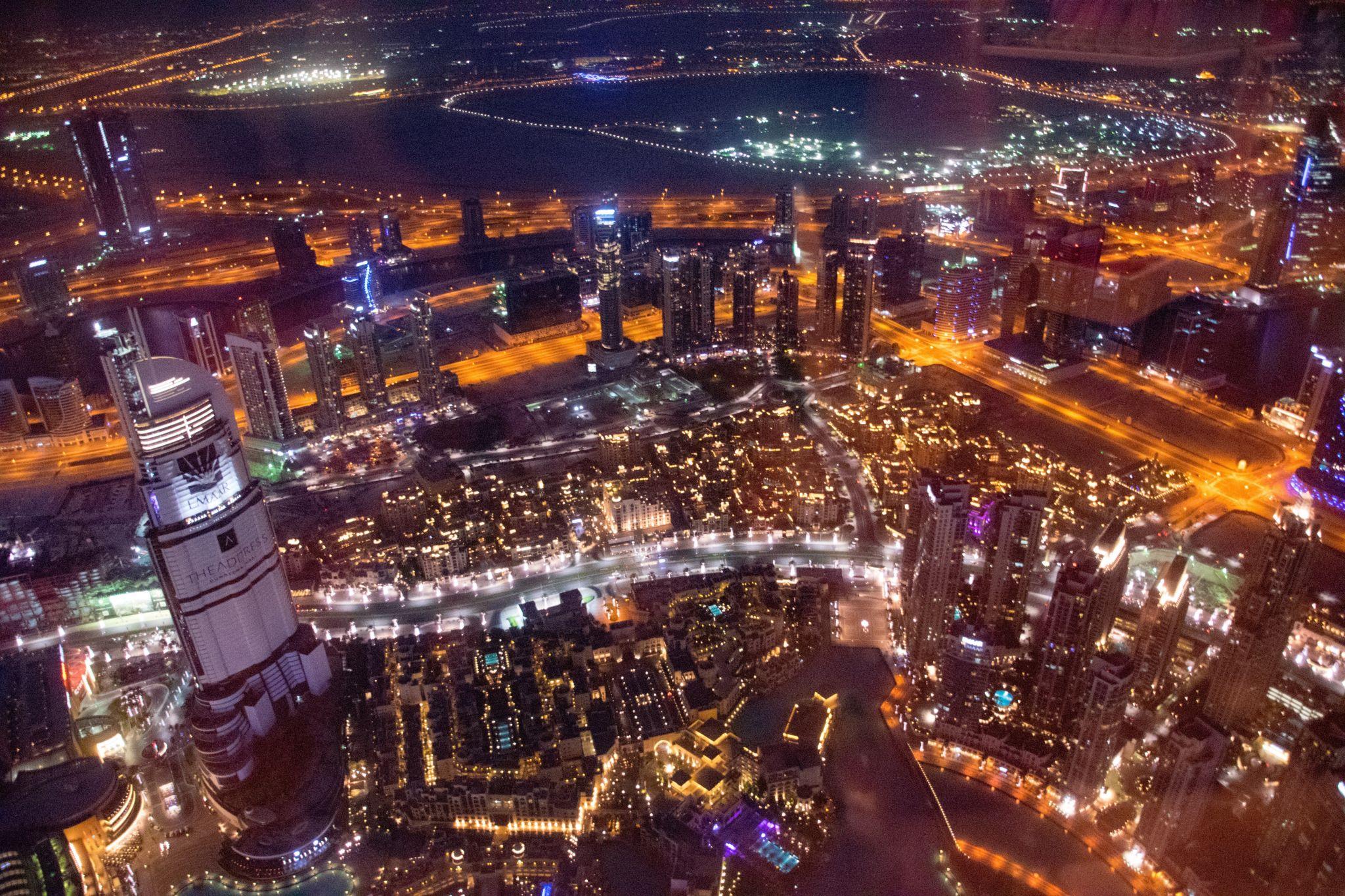 Fountain - View from Burj Khalifa - day & night, United Arab Emirates