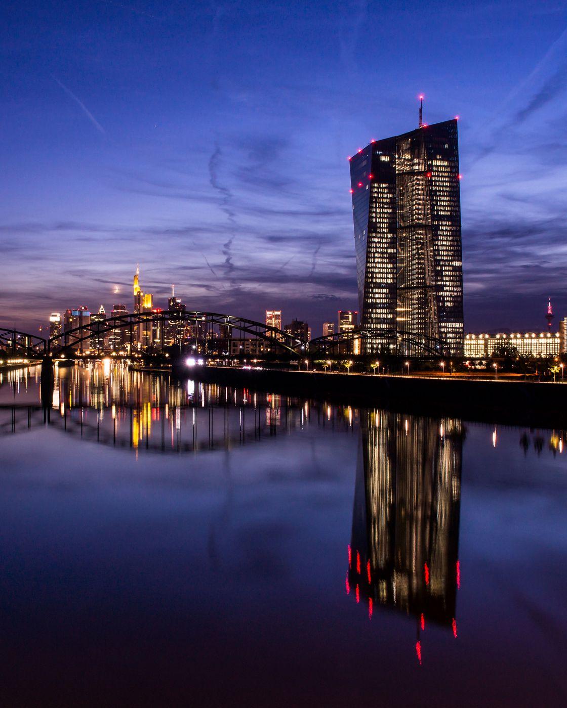 Frankfurt Skyline from Osthafenbridge, Germany