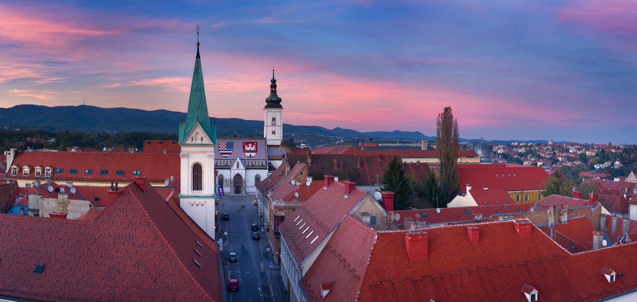 Looking on St. Marks church, Croatia