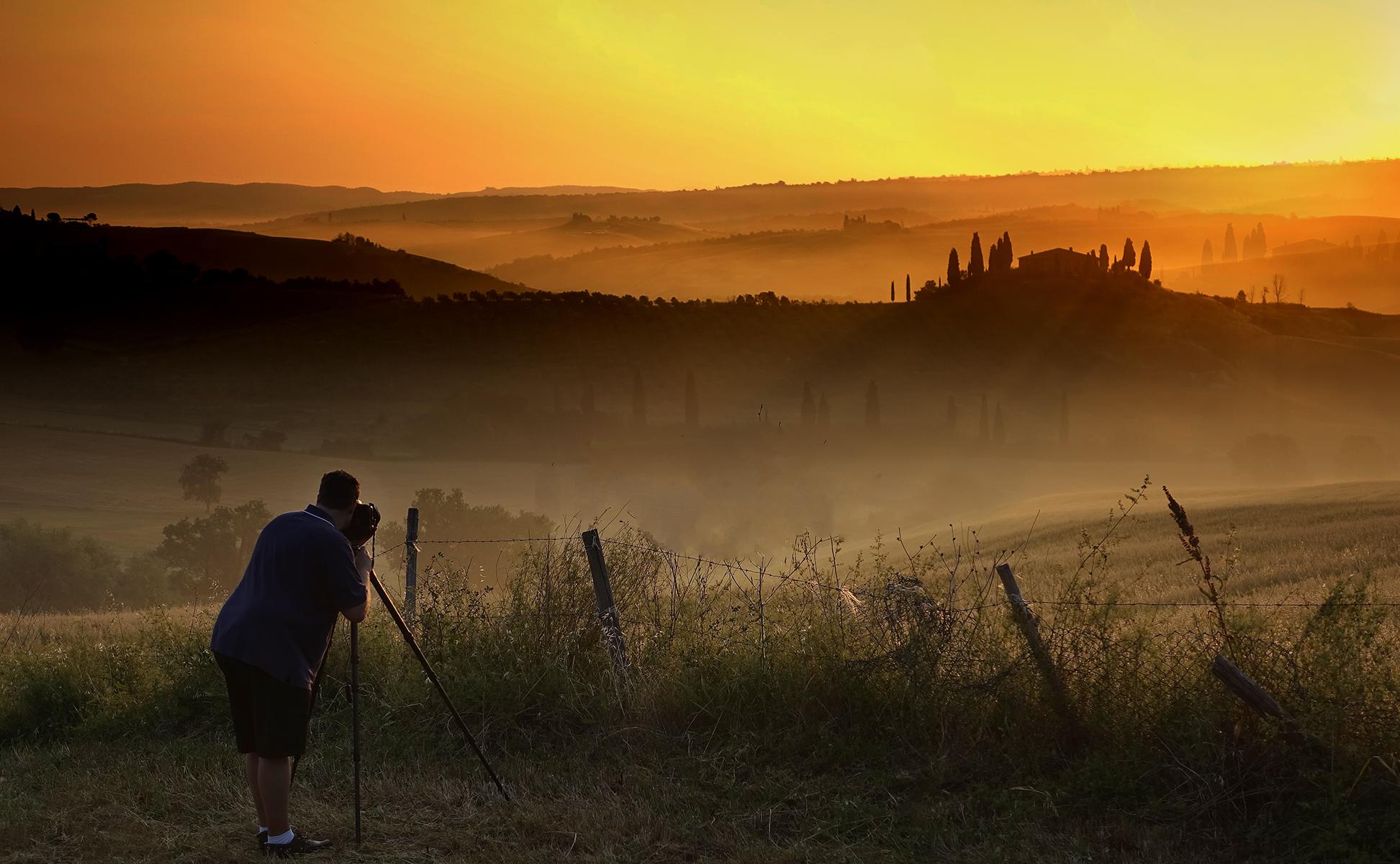 Photographer near Belvedere, Italy