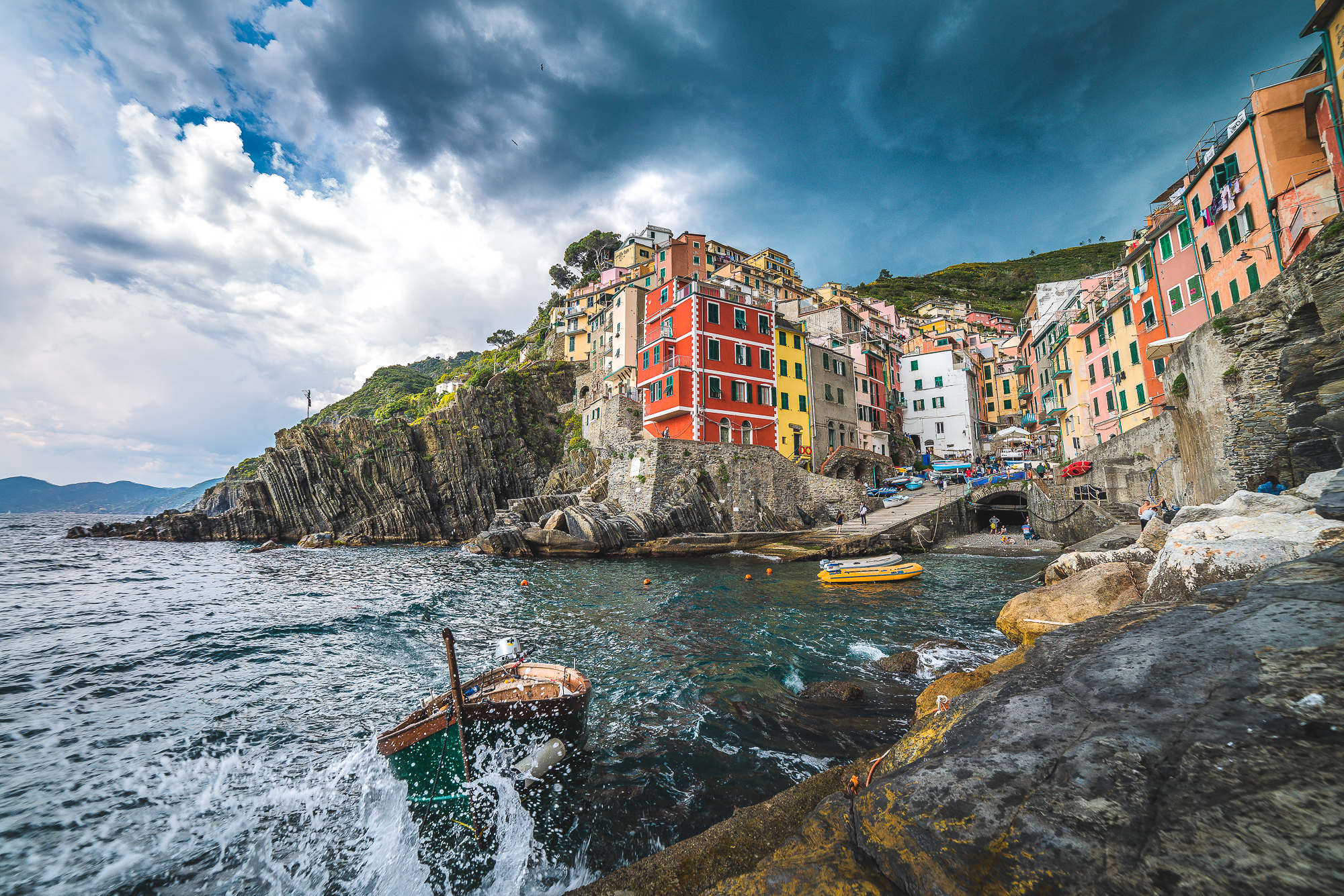 Riomaggiore during a storm, Italy