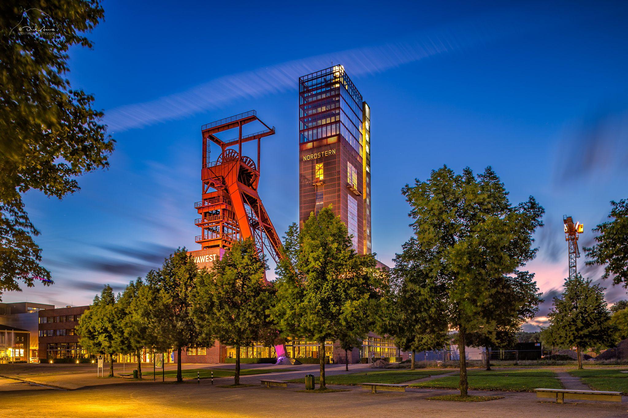 Blue Hour at former coalmine Nordstern, Germany