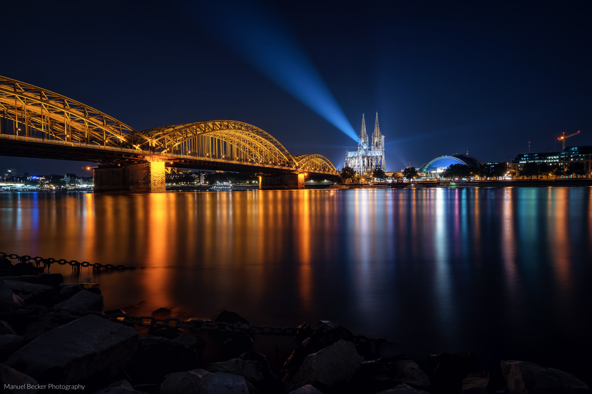 Cologne Cathedral from north of Hohenzollern Bridge, Germany