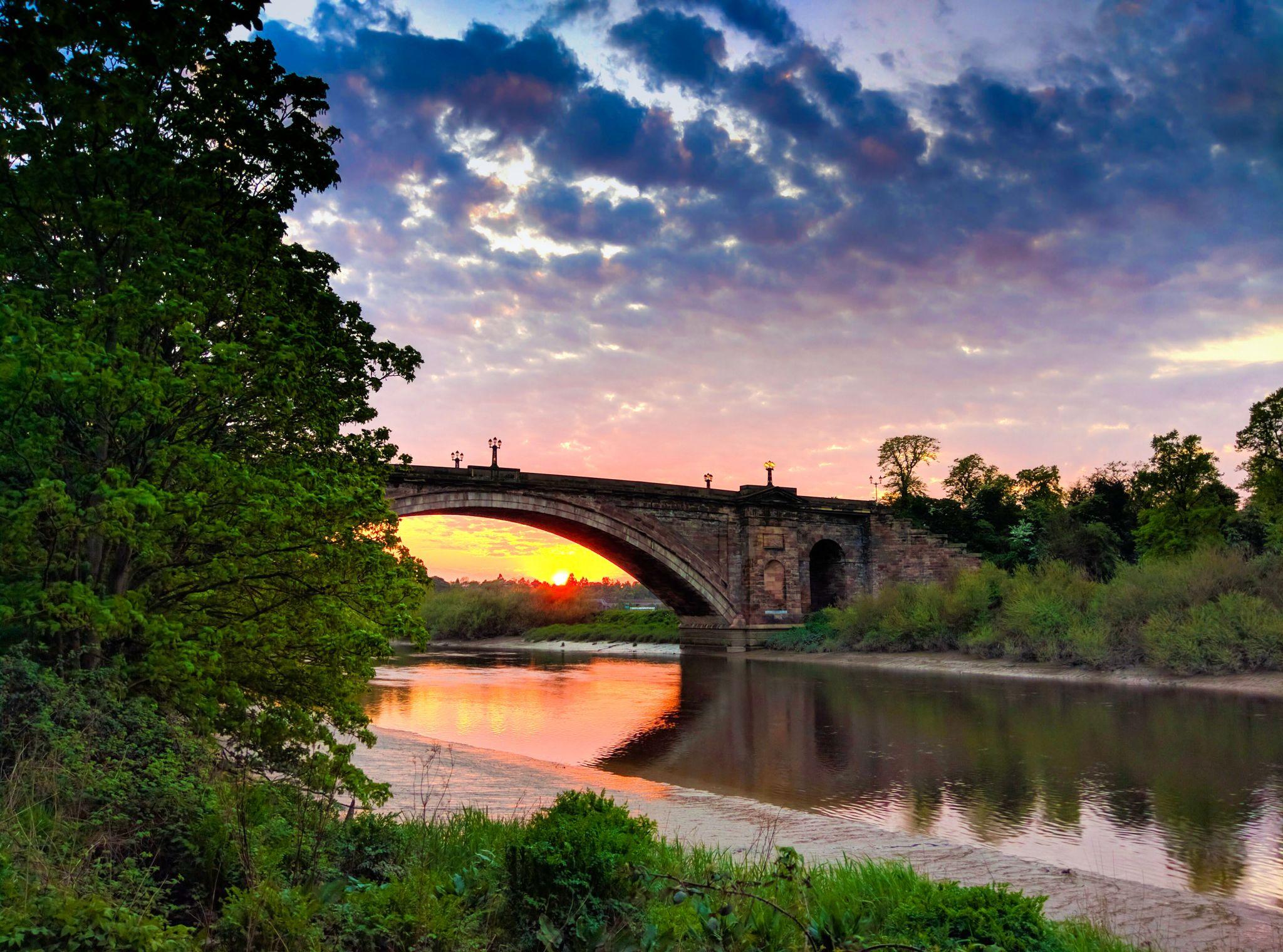 Grosvenor Bridge from River Dee, United Kingdom