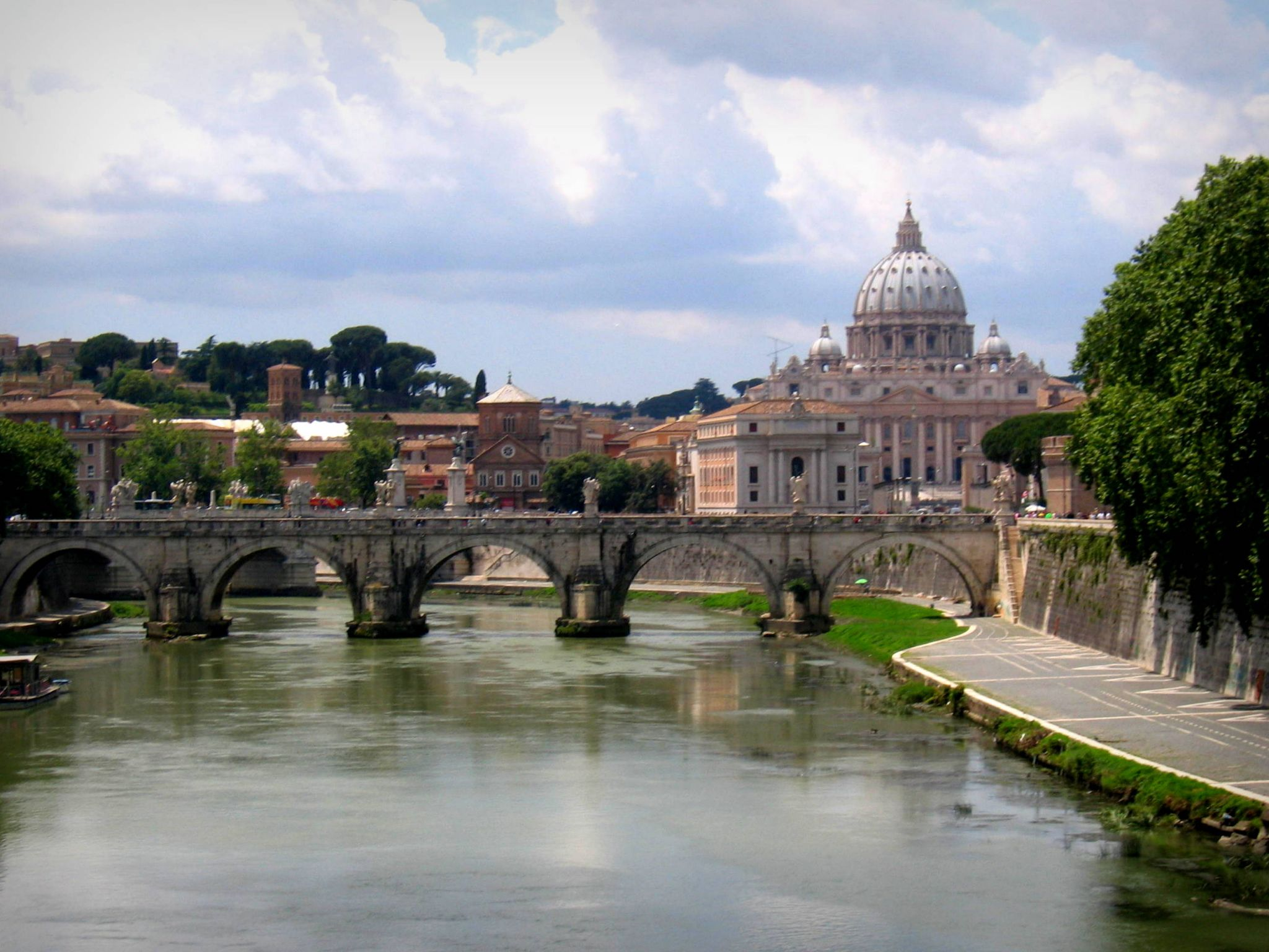 View to Tiber river and Vatikan, Italy