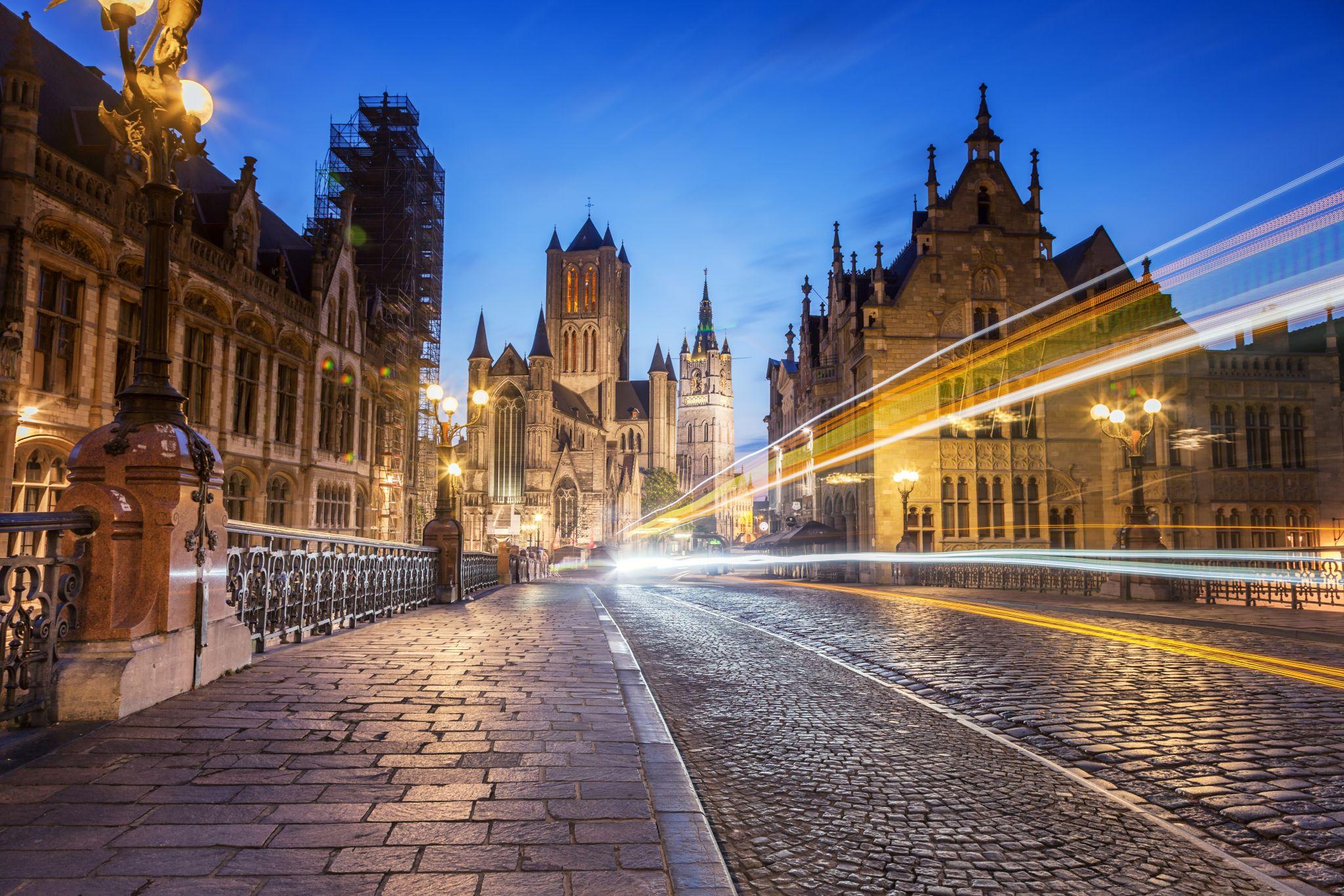 Bridge St-Michiels at Night, Belgium