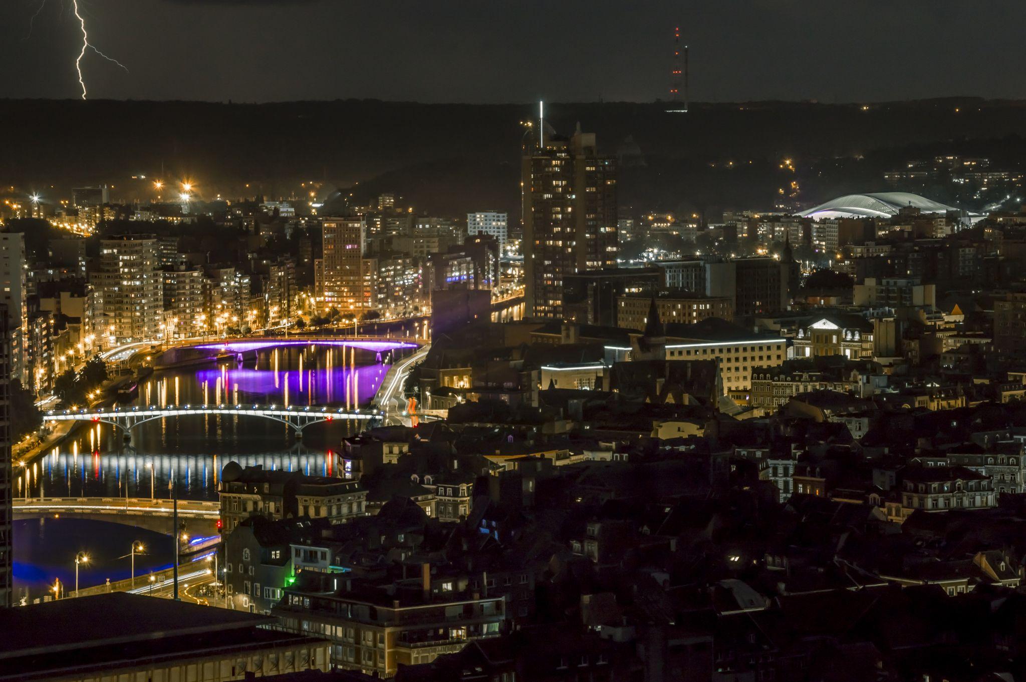 Liège by night, Belgium