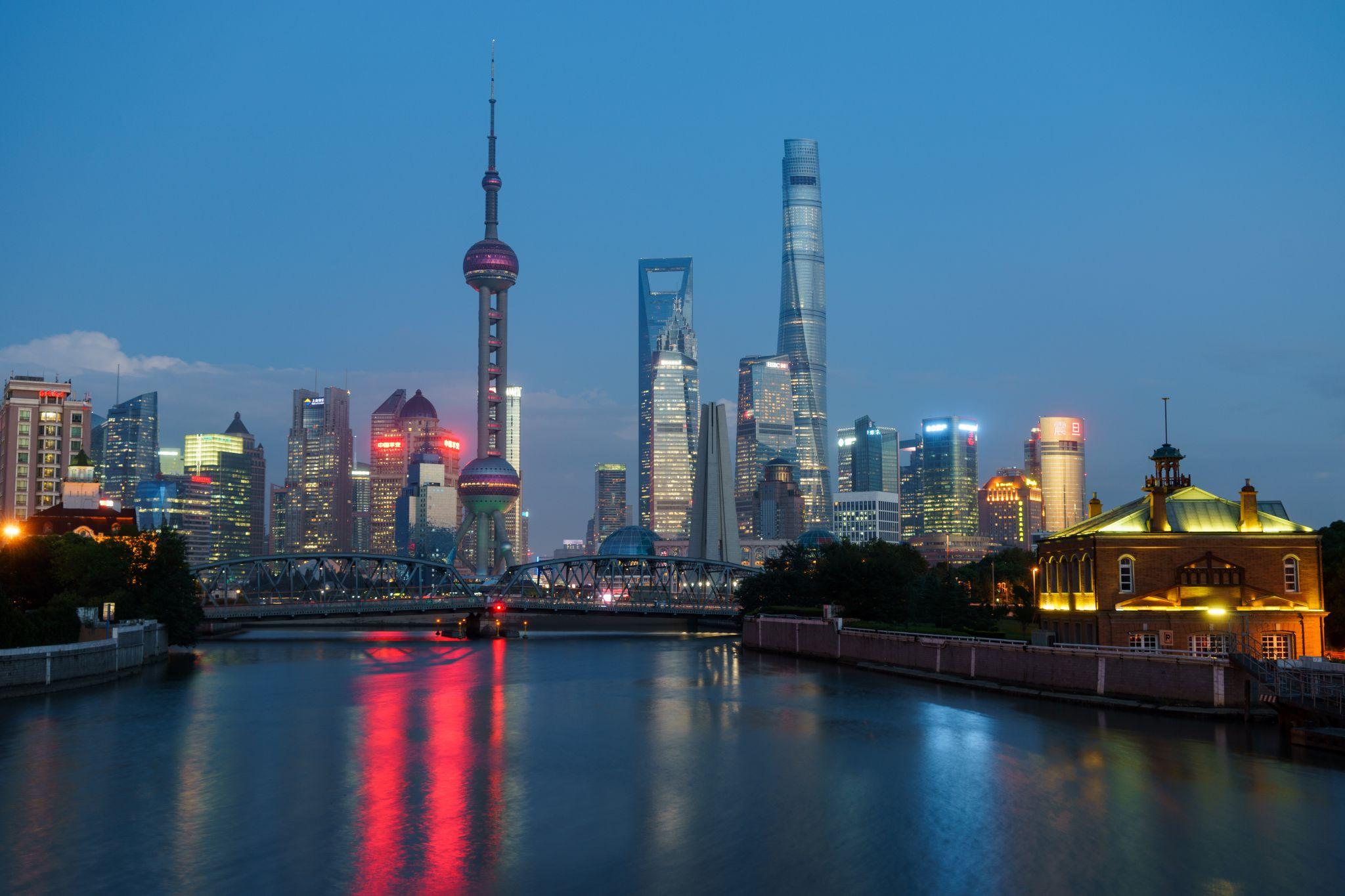 Pudong Skyline from Zhapu Bridge, China